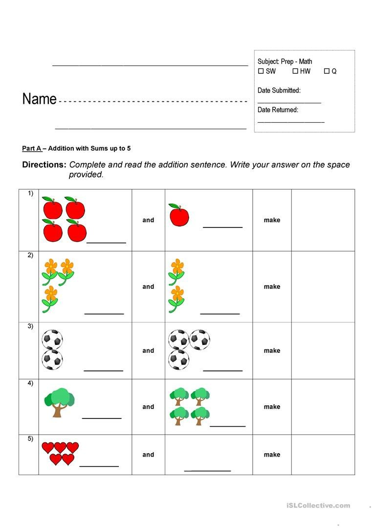 Addition Worksheets with Pictures Addition Worksheets English Esl Worksheets for Distance