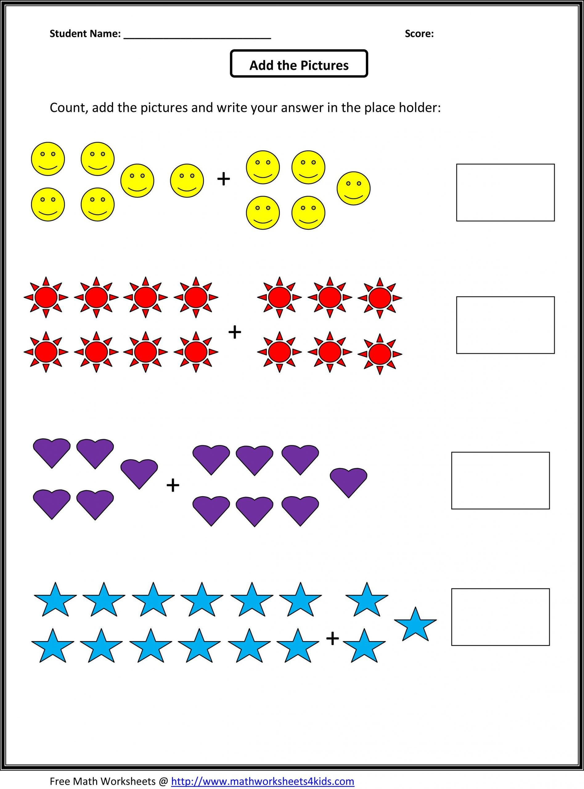 Addition Worksheets with Pictures Addition Worksheets for Grade 1 with