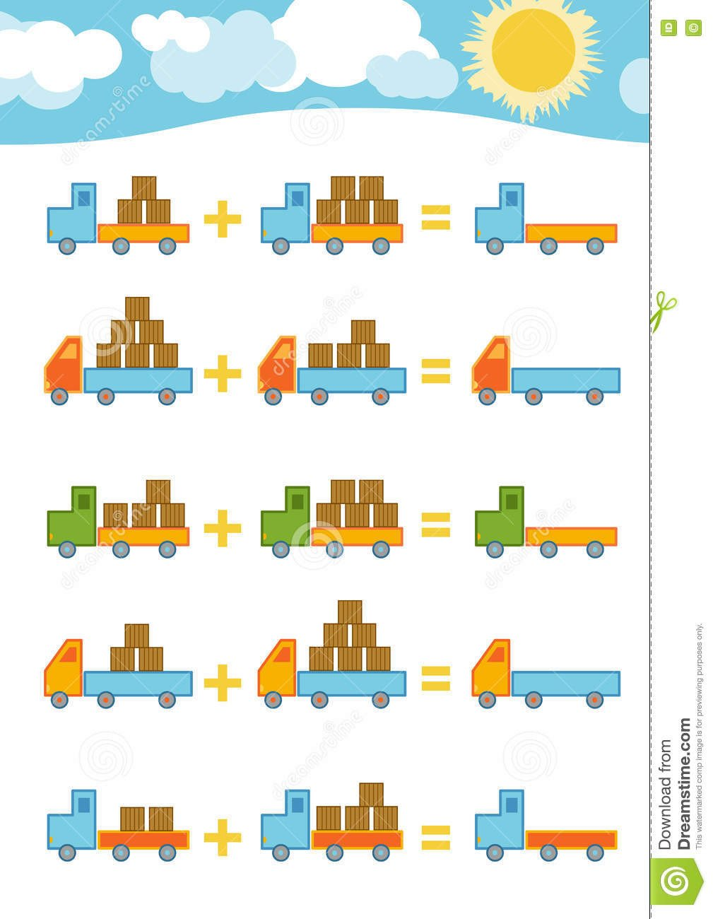 Addition Worksheets with Pictures Counting Game for Children Addition Worksheets Stock Vector