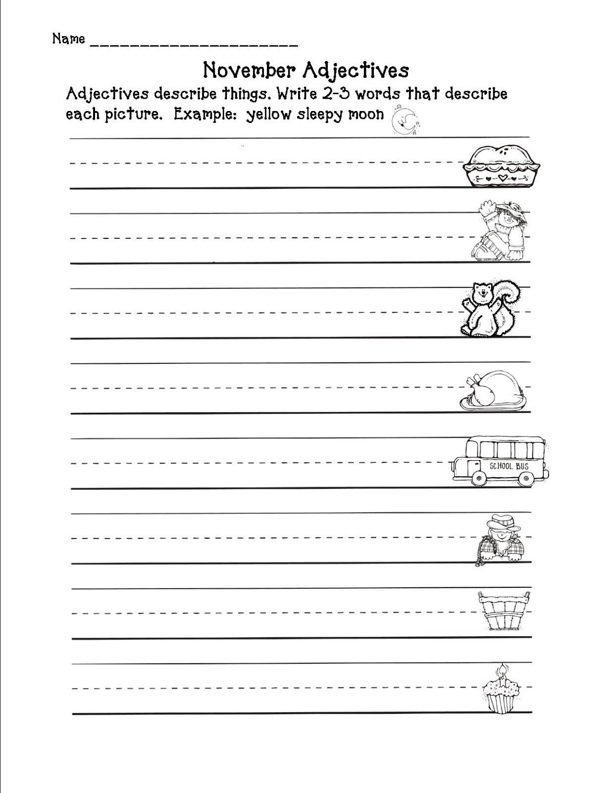 Adjectives Worksheet 2nd Grade 2nd In Line November 2012