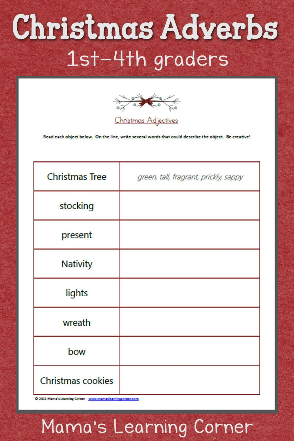 Adjectives Worksheet 2nd Grade Christmas Adjectives Worksheet Mamas Learning Corner