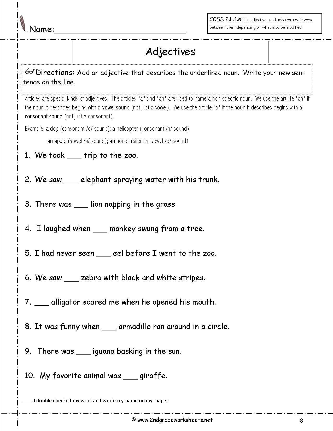 Adjectives Worksheet 2nd Grade Free Using Adjectives Worksheets