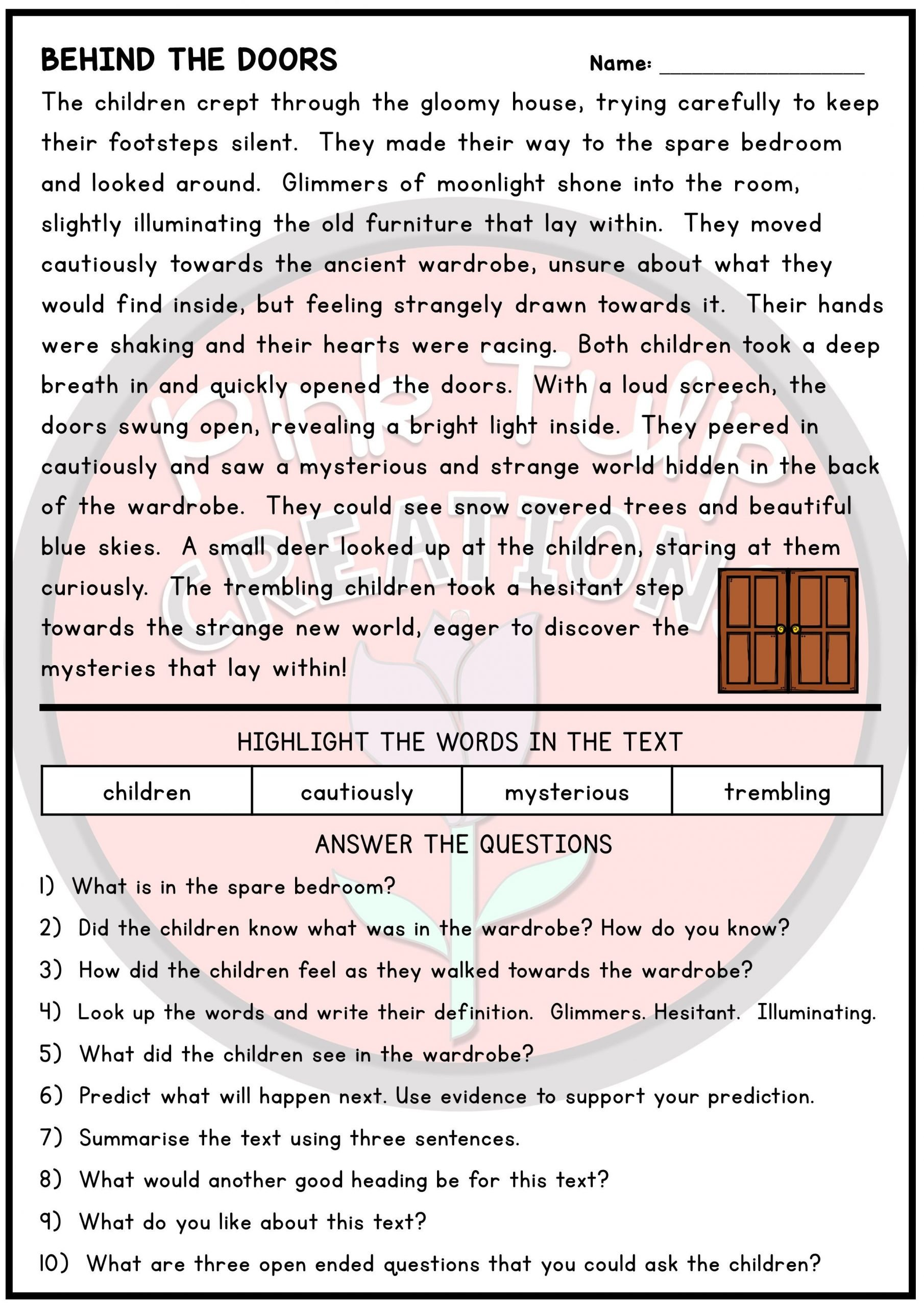 Alliteration Worksheets 4th Grade 10 Page Reading Prehension Worksheet Pack with Answers