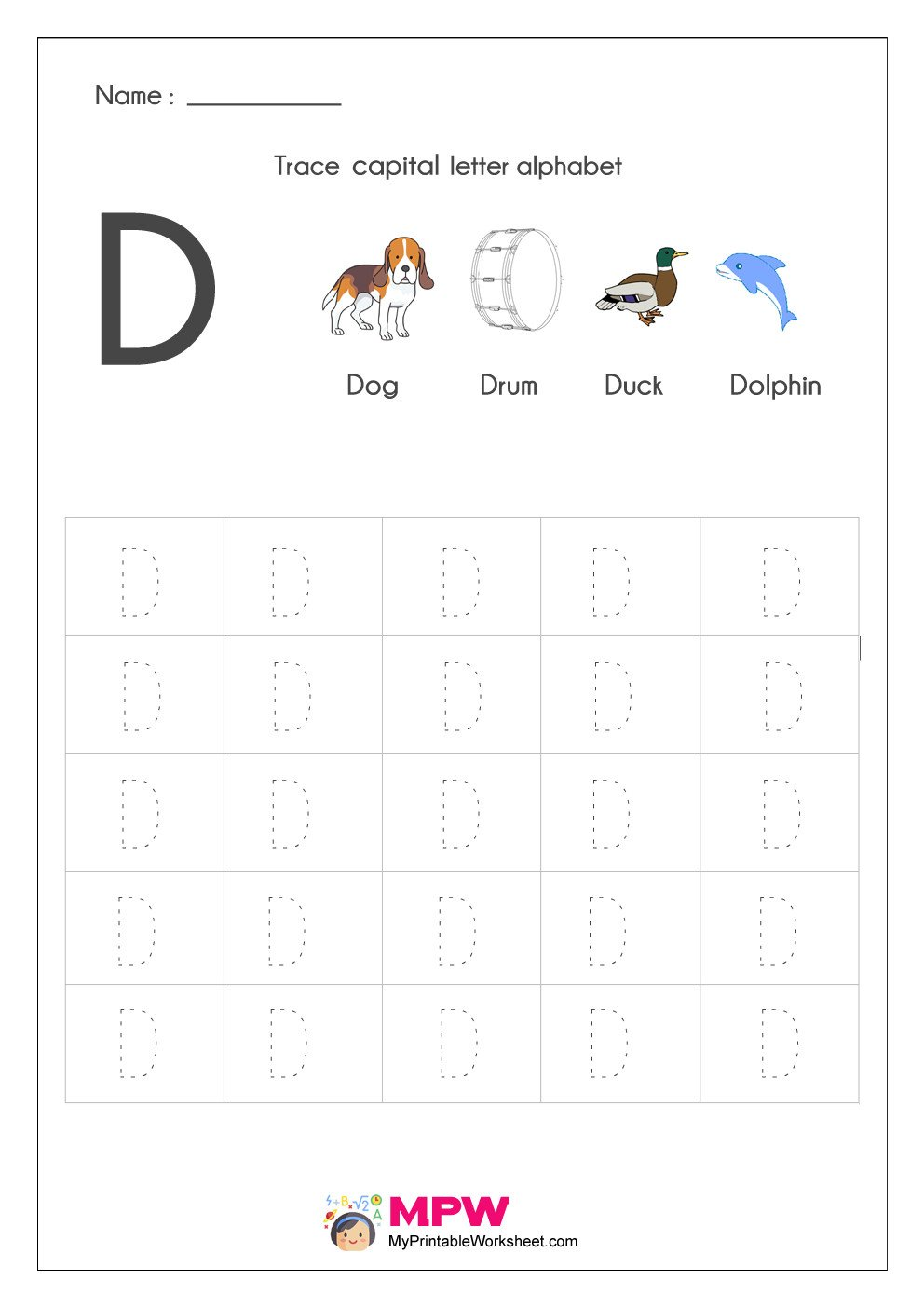 tracing capital letter D