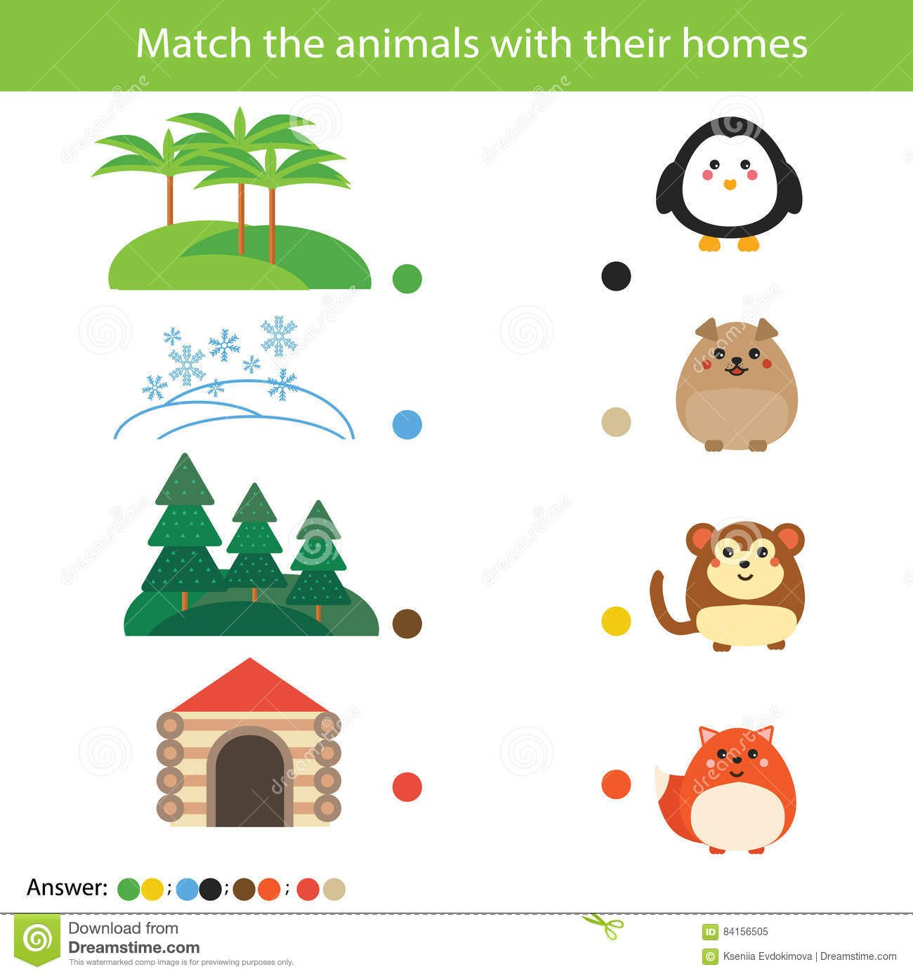 Animal Homes Worksheet Matching Children Education Game Match Animals with their