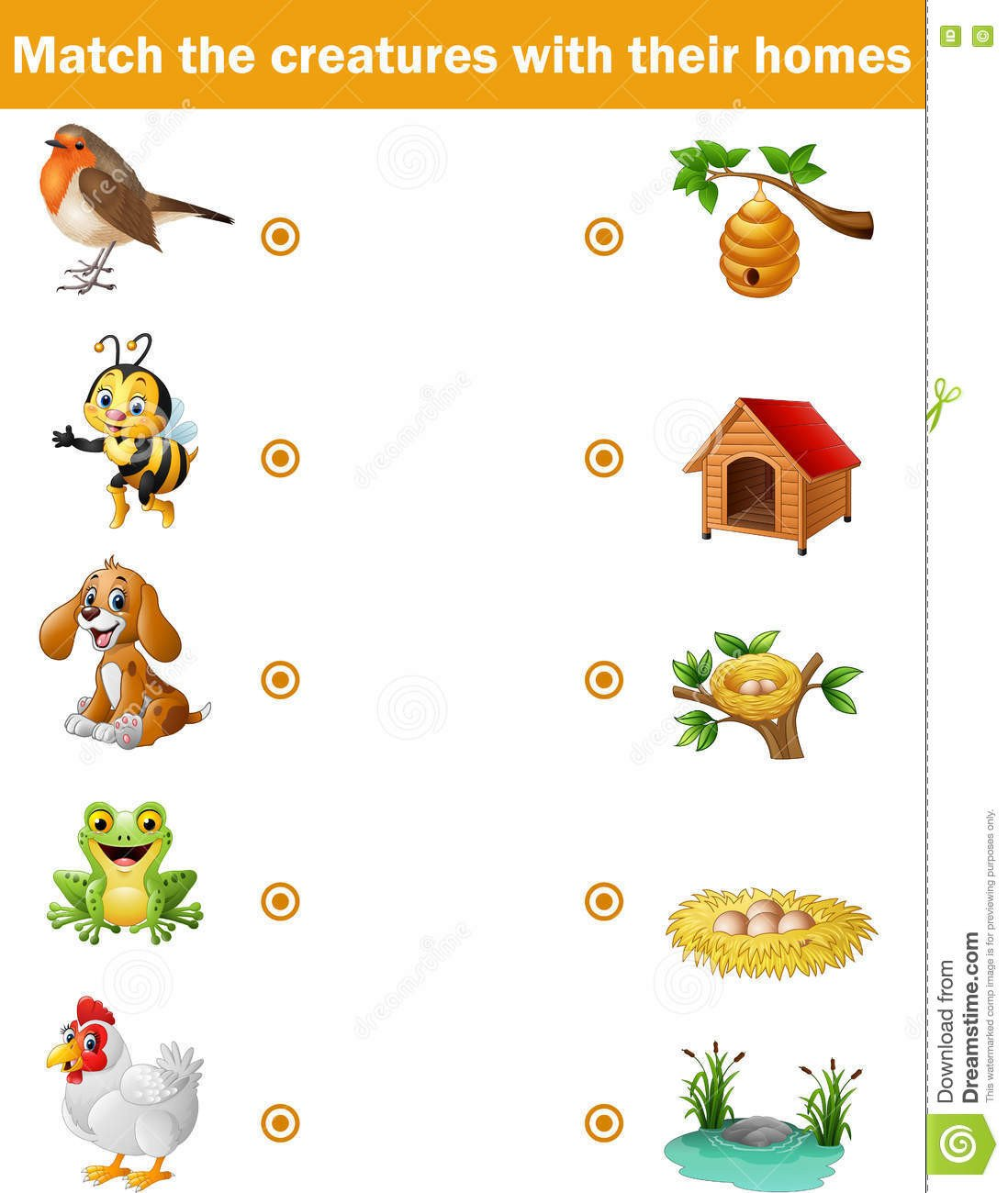 Animal Homes Worksheet Matching Game for Children Animals with their Homes Stock