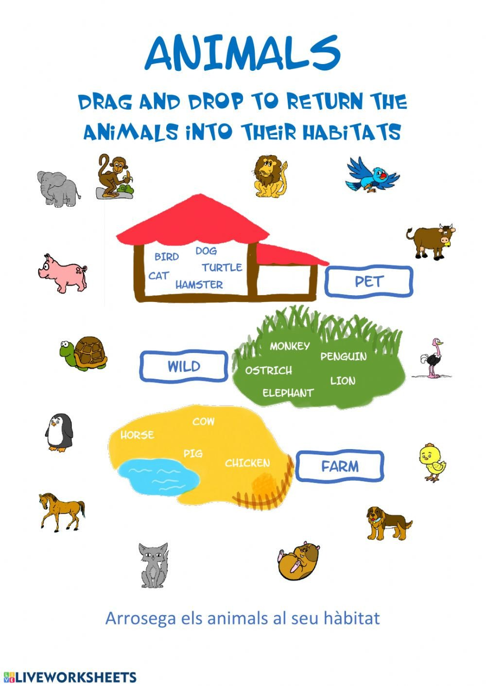 Animals and their Habitats Worksheets Animals Habitat Interactive Worksheet
