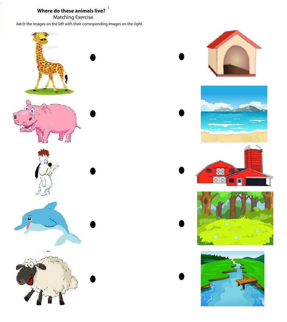 free printable matching animals to their home worksheet 2 2