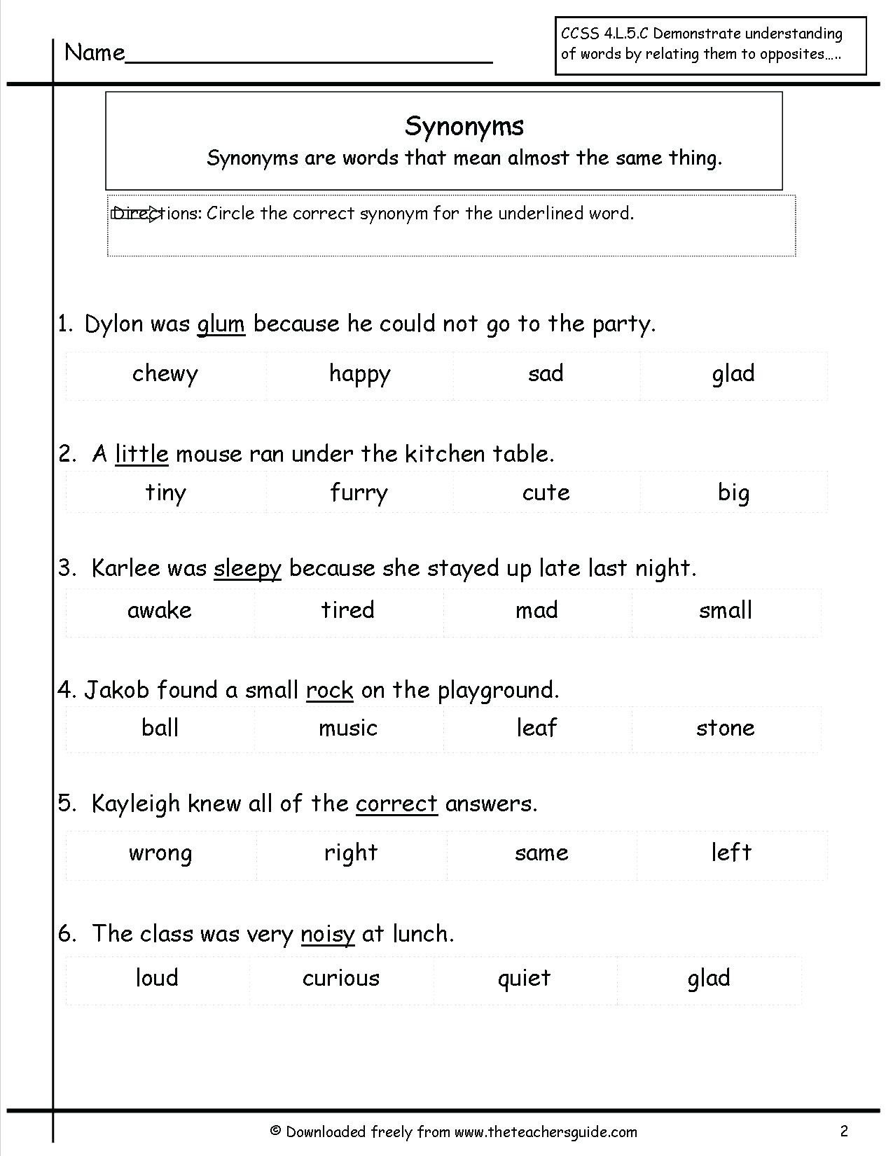 synonyms worksheet pdf life skills worksheets synonyms worksheet free printable l on free synonyms antonyms worksheets synonyms worksheet 5th grade pdf