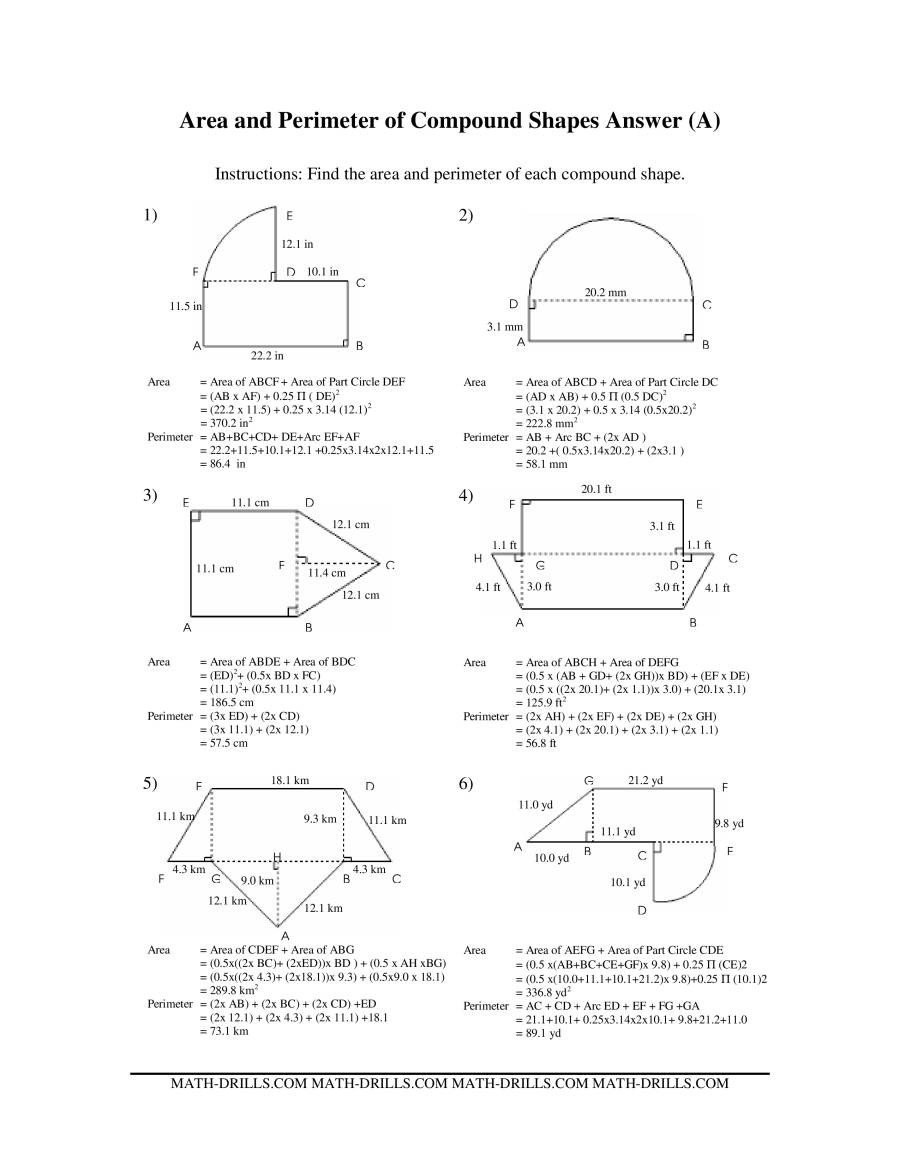 Area Irregular Shapes Worksheet area and Perimeter Of Pound Shapes A