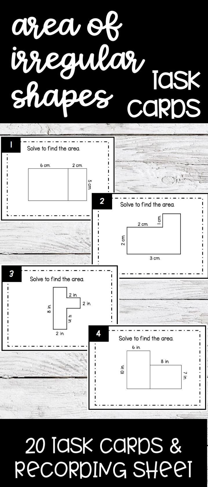 Area Irregular Shapes Worksheet area Of Irregular Shapes Task Cards