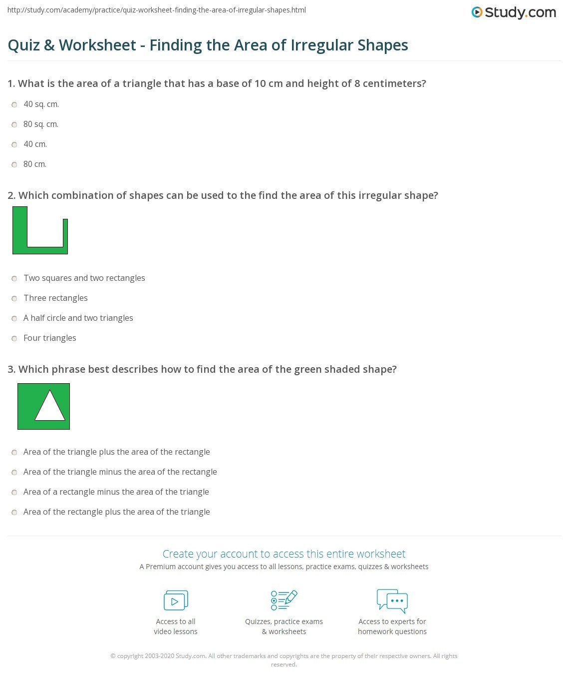 Area Irregular Shapes Worksheet Quiz & Worksheet Finding the area Of Irregular Shapes