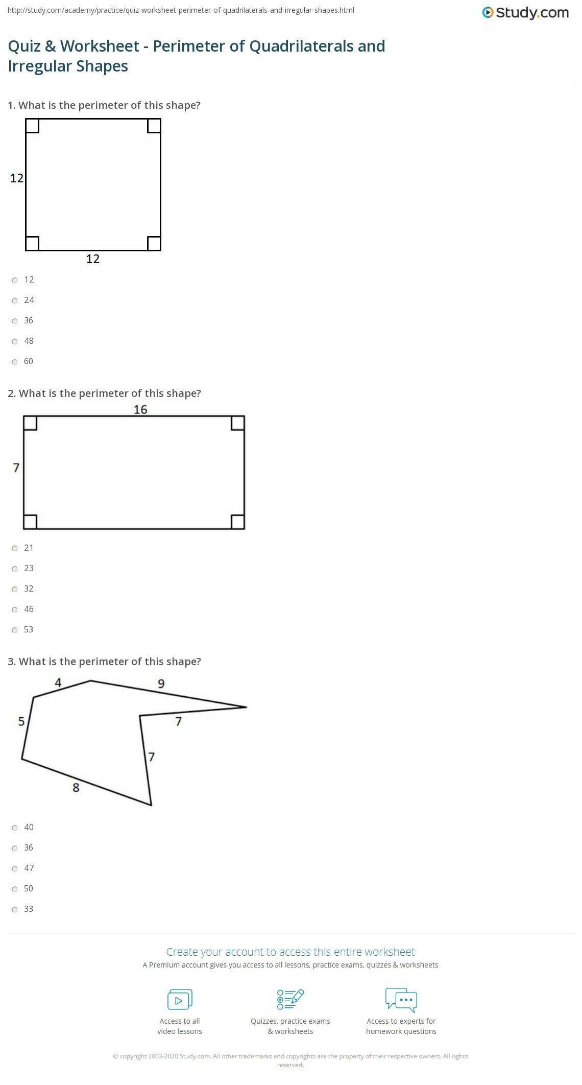 Area Irregular Shapes Worksheet Quiz & Worksheet Perimeter Of Quadrilaterals and Irregular