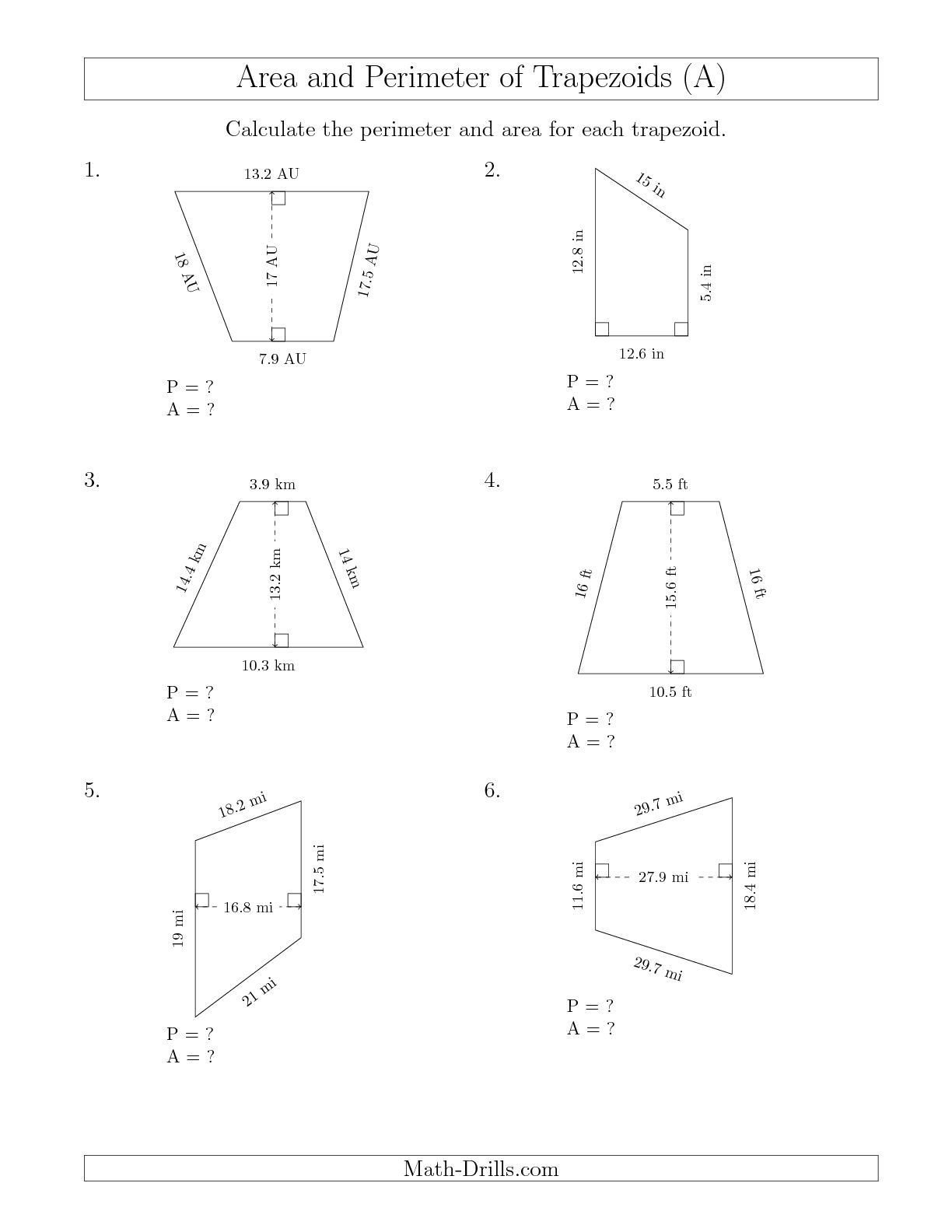 Area Irregular Shapes Worksheet the Calculating the Perimeter and area Of Trapezoids R