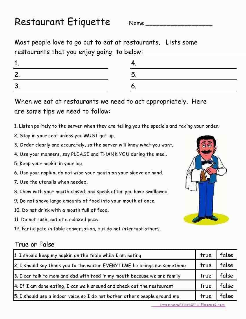 Autism Worksheets social Skills Free Life Skills Worksheets for Highschool Students and Free