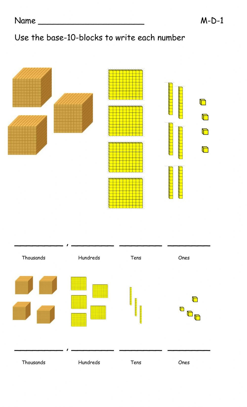 Base Ten Model Worksheets Base Ten Blocks Interactive Worksheet