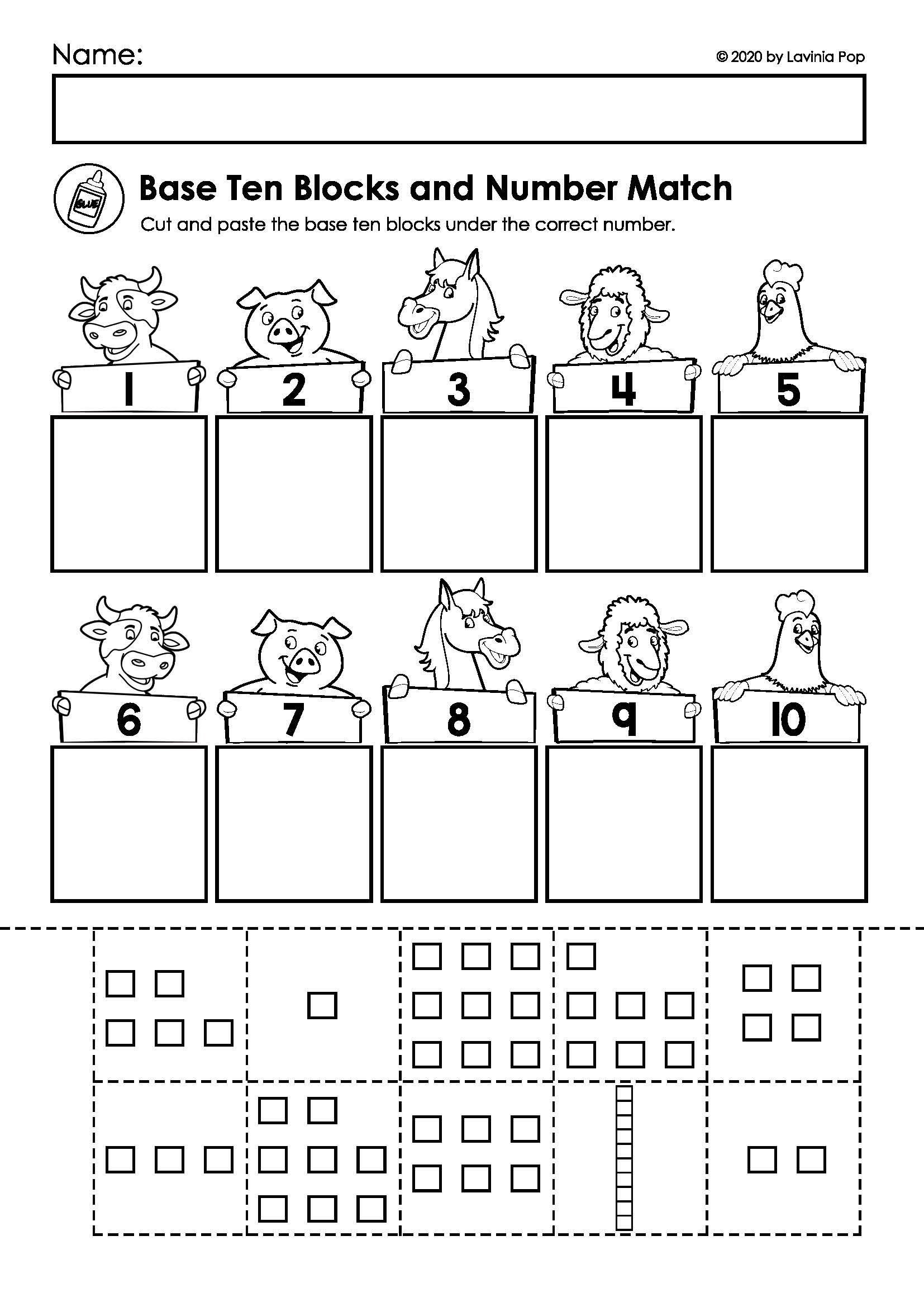 Base Ten Model Worksheets Farm Math & Literacy Worksheets & Activities No Prep In 2020