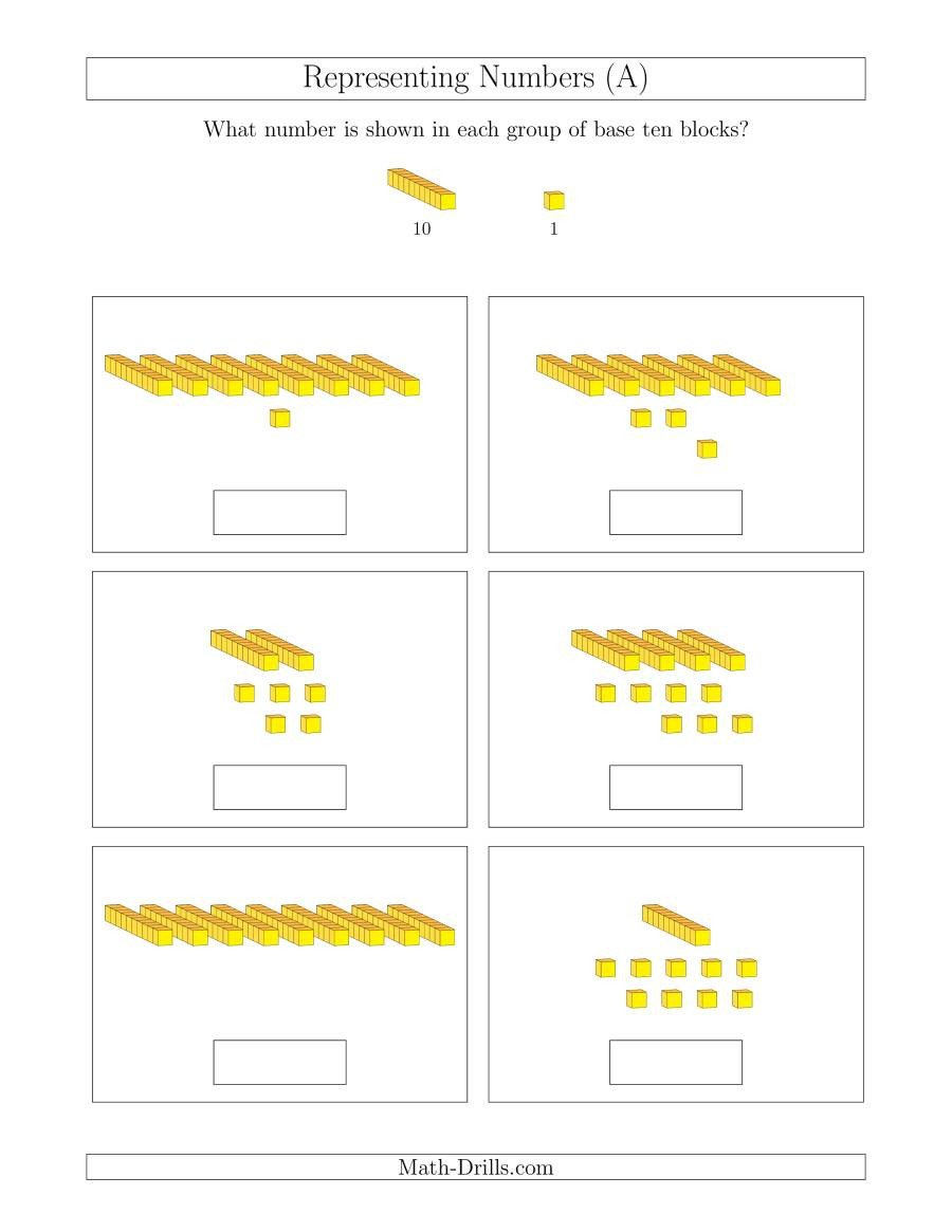 Base Ten Model Worksheets Representing Numbers to 99 with Base Ten Blocks A