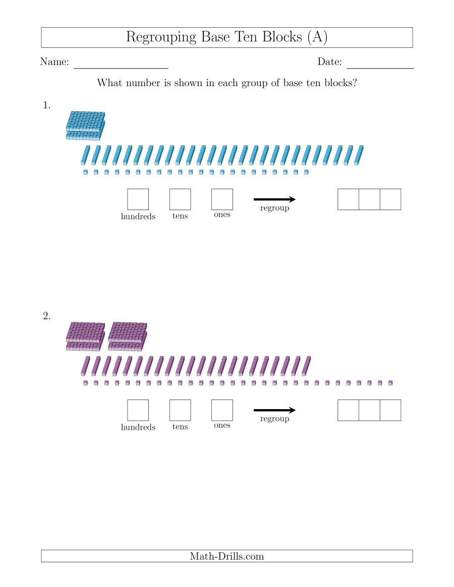 Base Ten Model Worksheets Representing Numbers with Base Ten Blocks that Require