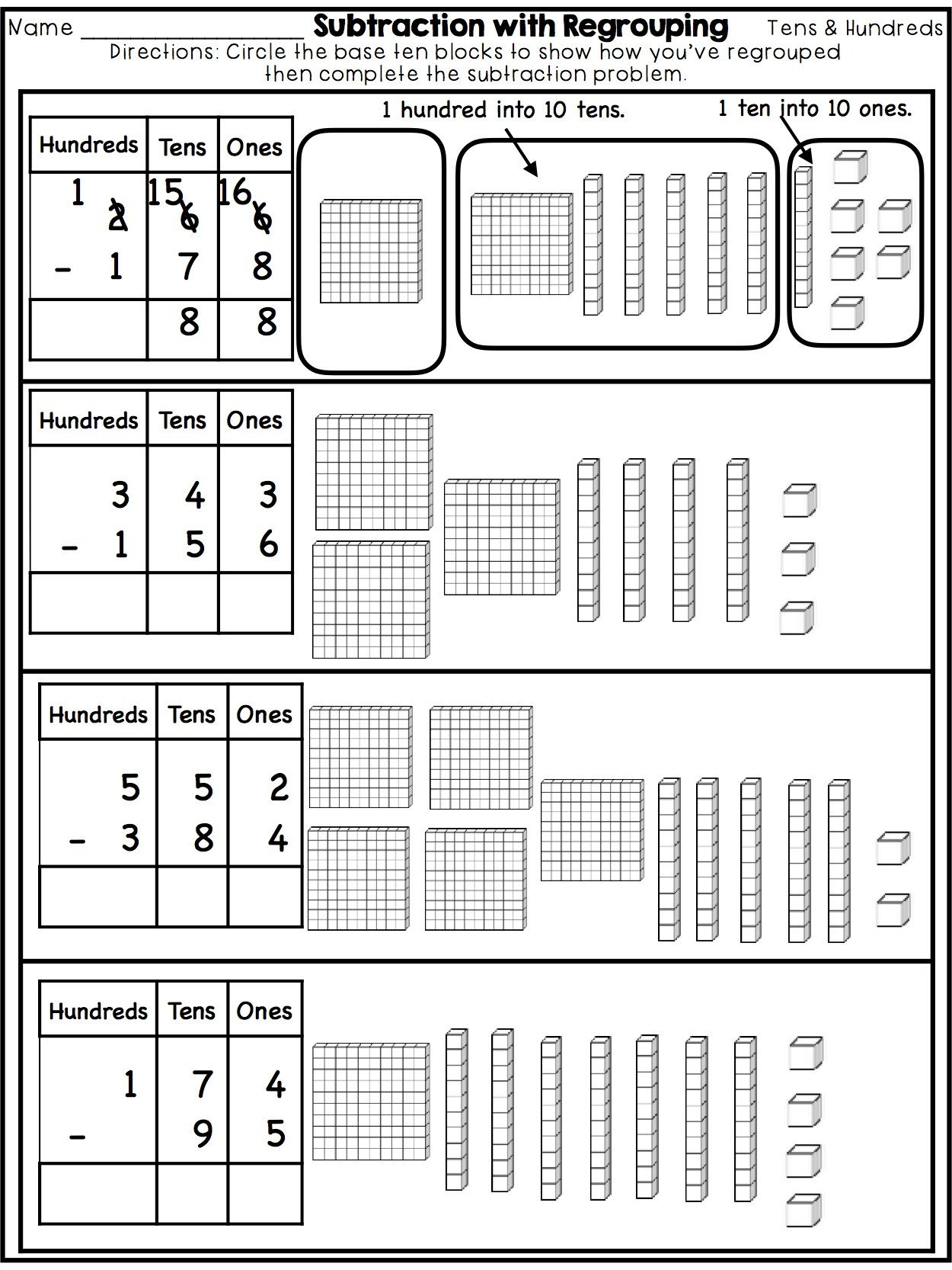 Base Ten Model Worksheets Subtraction with Regrouping Three Digit Numbers From Katelyn