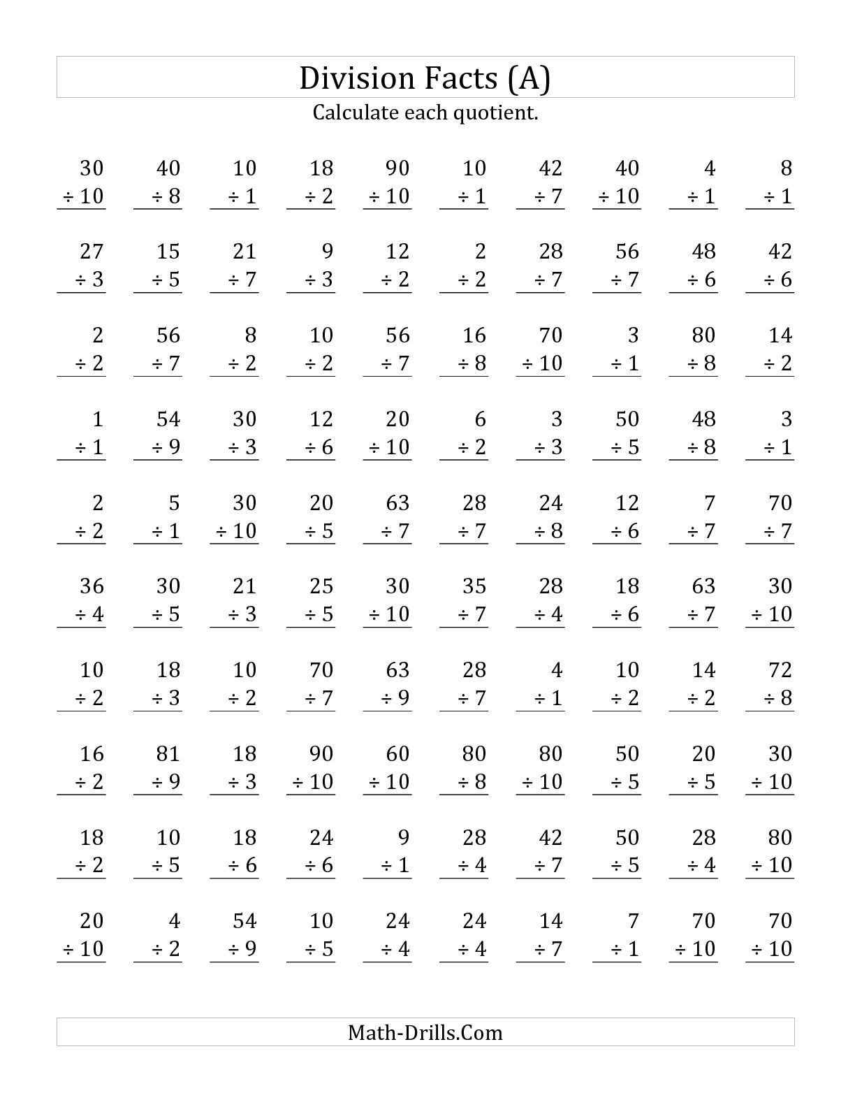 Basic Division Fact Worksheets the Vertically Arranged Division Facts to 100 A Math