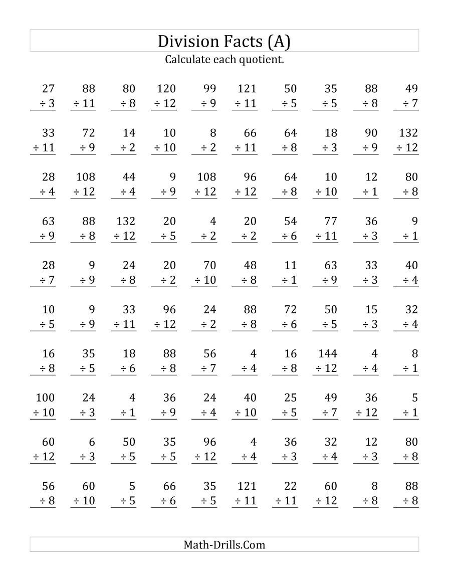 Basic Division Fact Worksheets Vertically Arranged Division Facts to 144 A