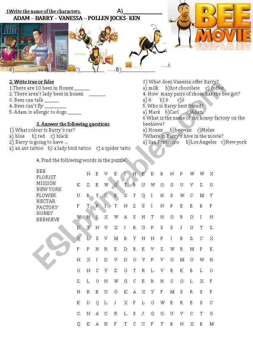 Bee Movie Worksheet Answers Bee Movie Activities Esl Worksheet by Gimenastaf