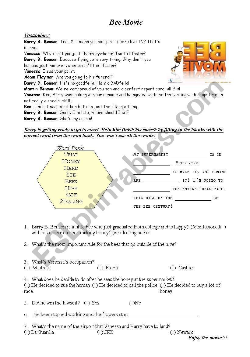 Bee Movie Worksheet Answers Bee Movie Esl Worksheet by Acpastro