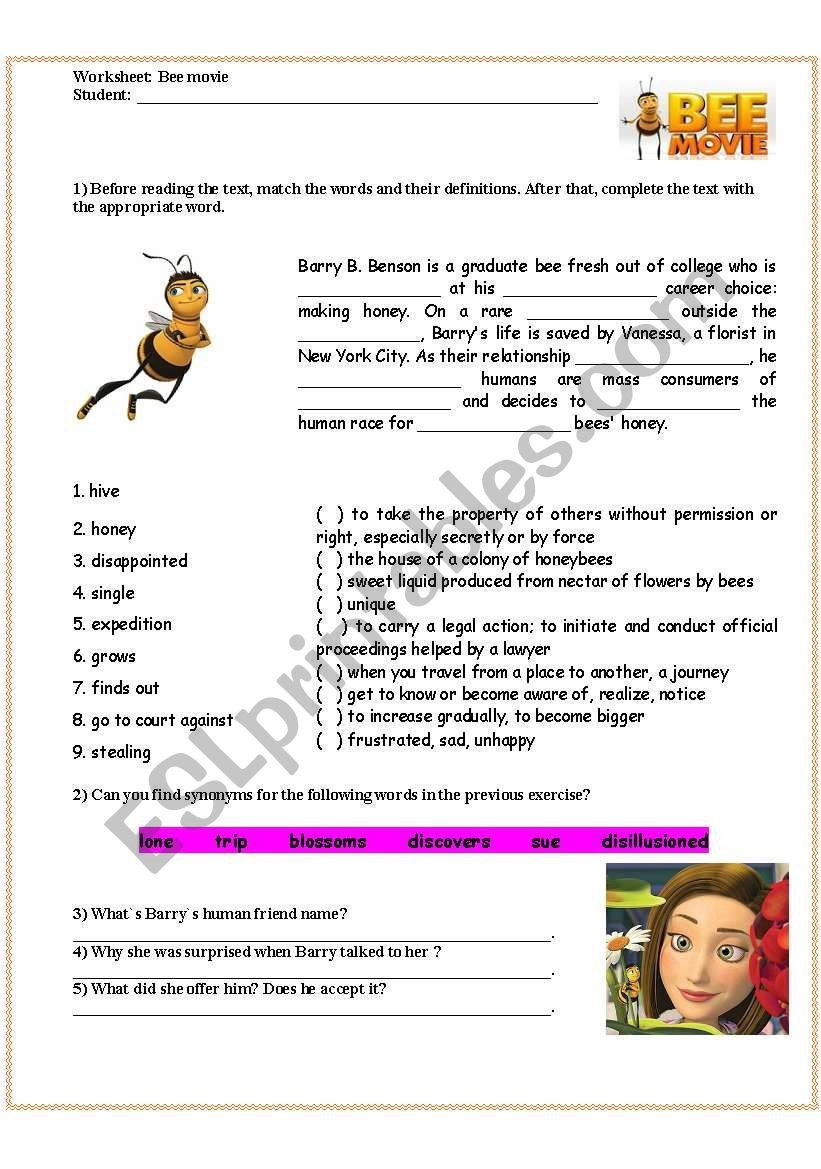 Bee Movie Worksheet Answers Bee Movie Film Activity Esl Worksheet by Ericaplak