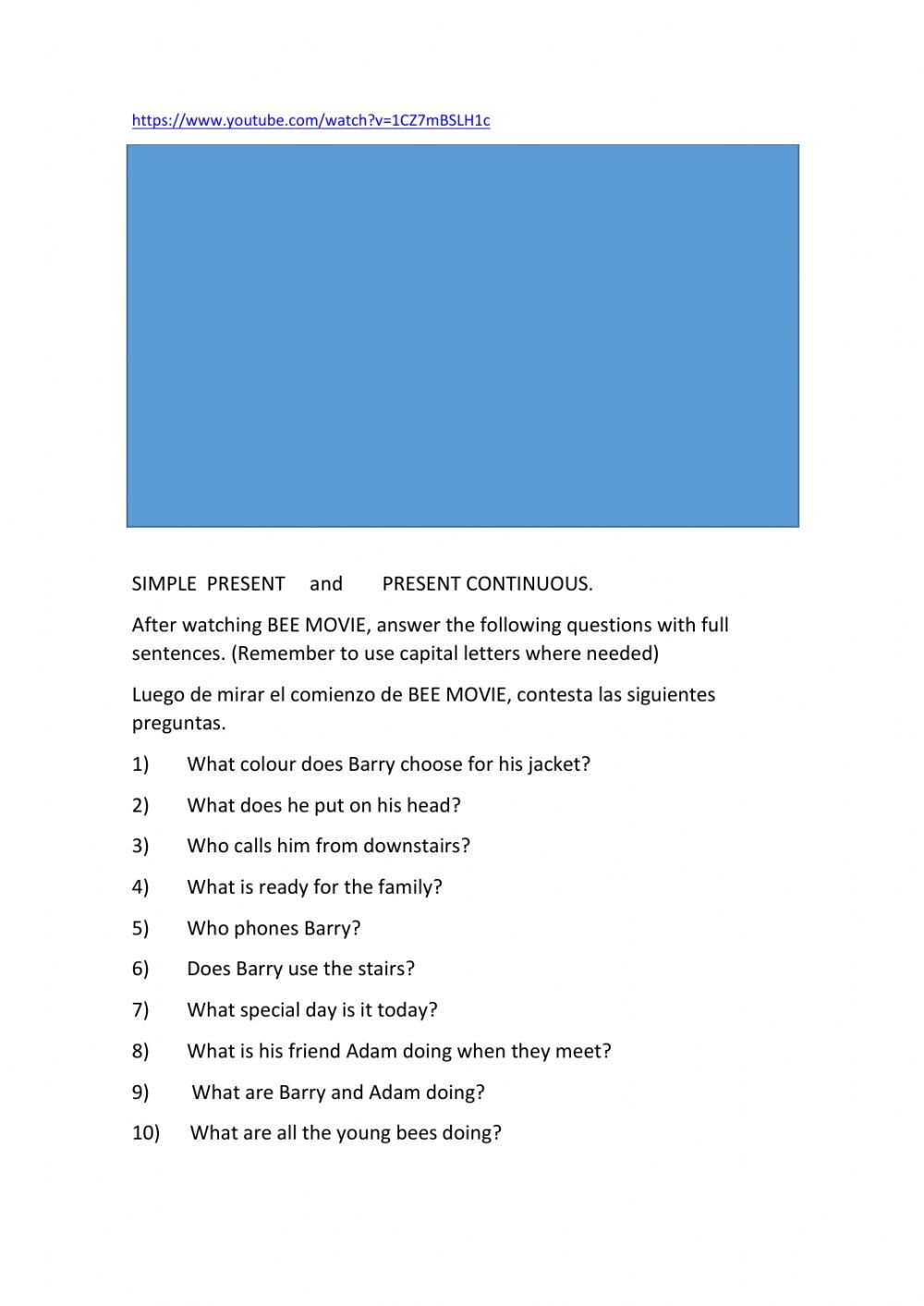 Bee Movie Worksheet Answers Bee Movie Interactive Worksheet