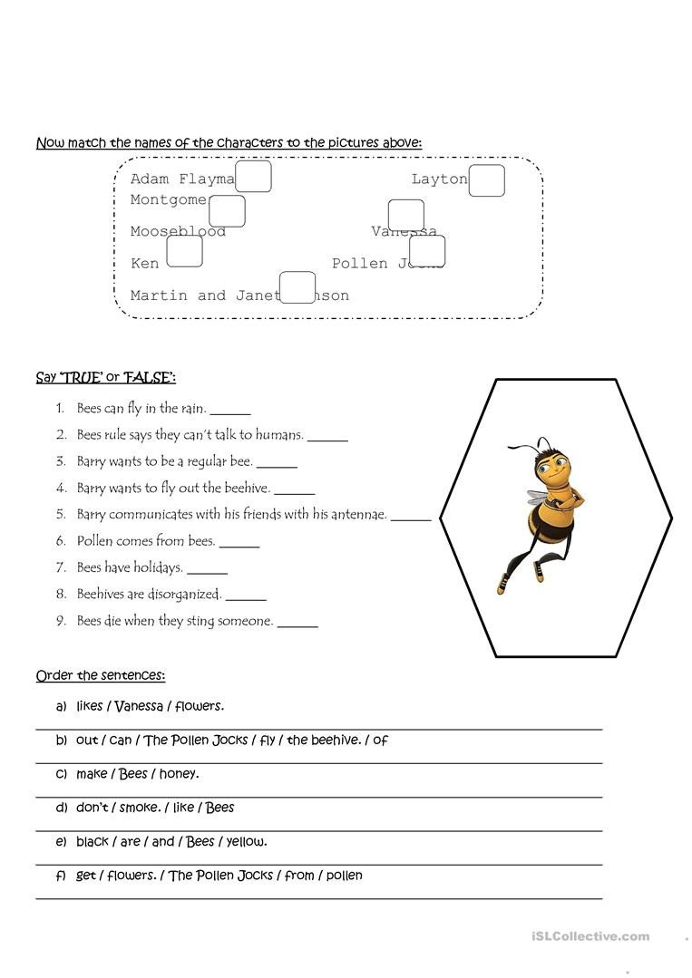 Bee Movie Worksheet Answers Bee Movie Worksheet English Esl Worksheets for Distance