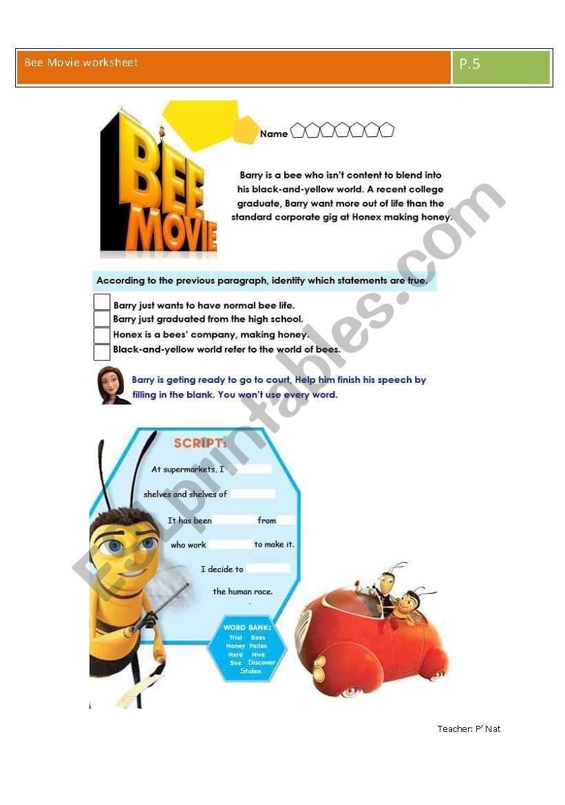 Bee Movie Worksheet Answers Bee Movie Worksheet Esl Worksheet by Nbreezy