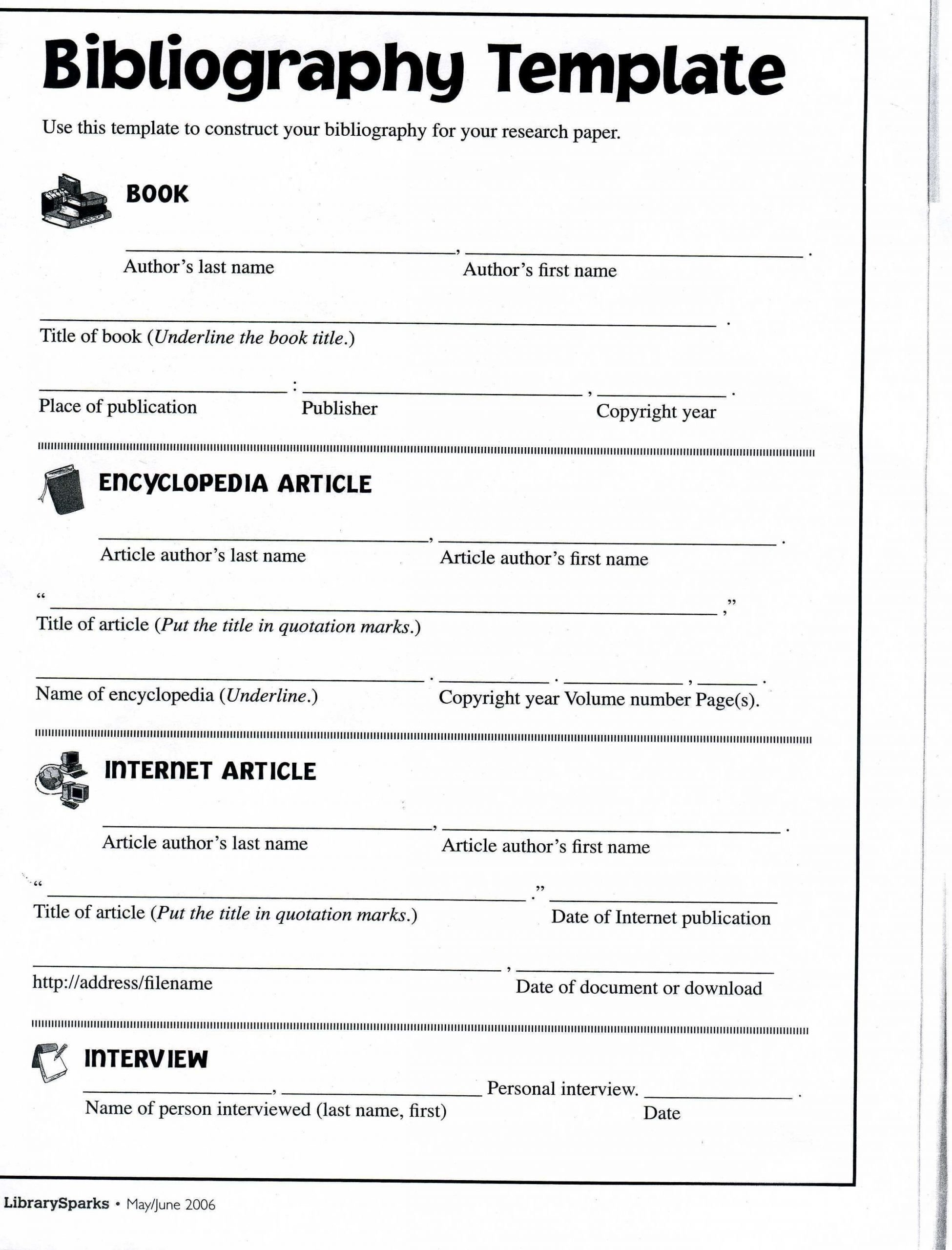 Bibliography Practice Worksheets Bibliography format Template