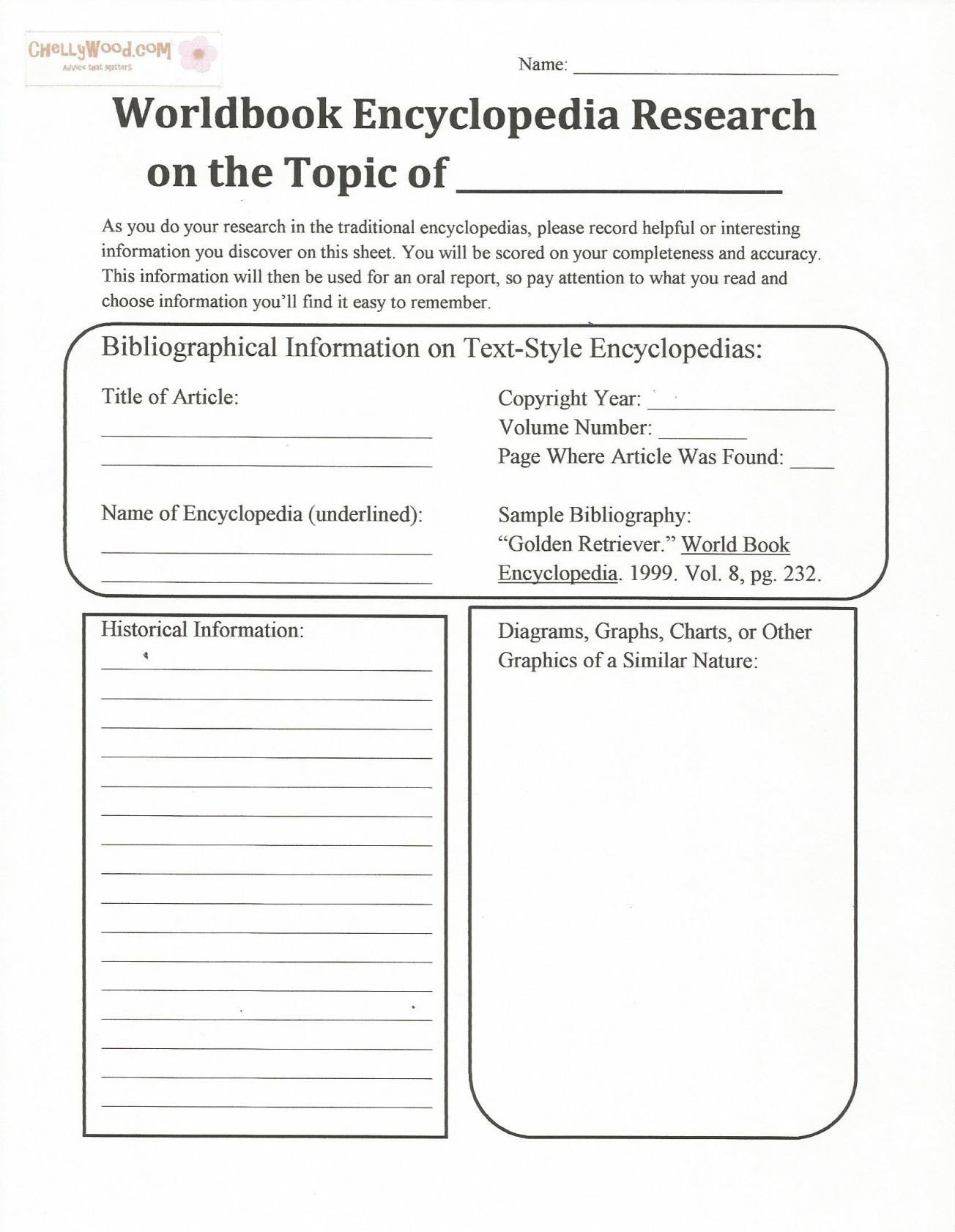 Bibliography Practice Worksheets Free Printable Encyclopedia Handout for Teaching Research