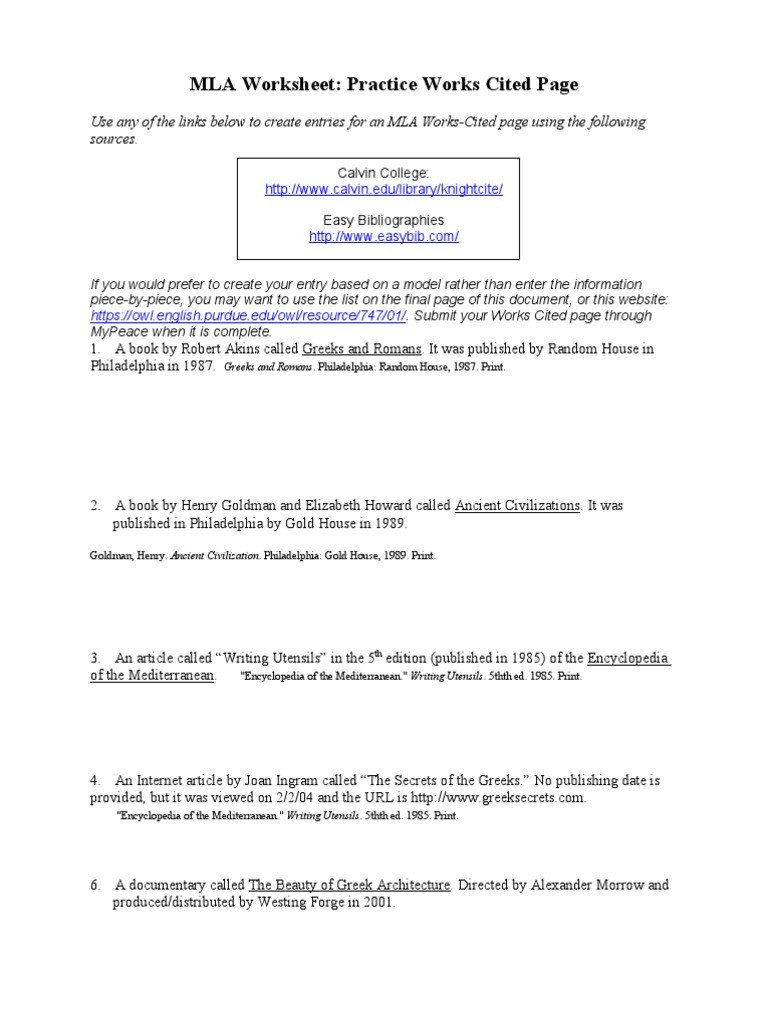Bibliography Practice Worksheets Mla Works Cited Practice Worksheet