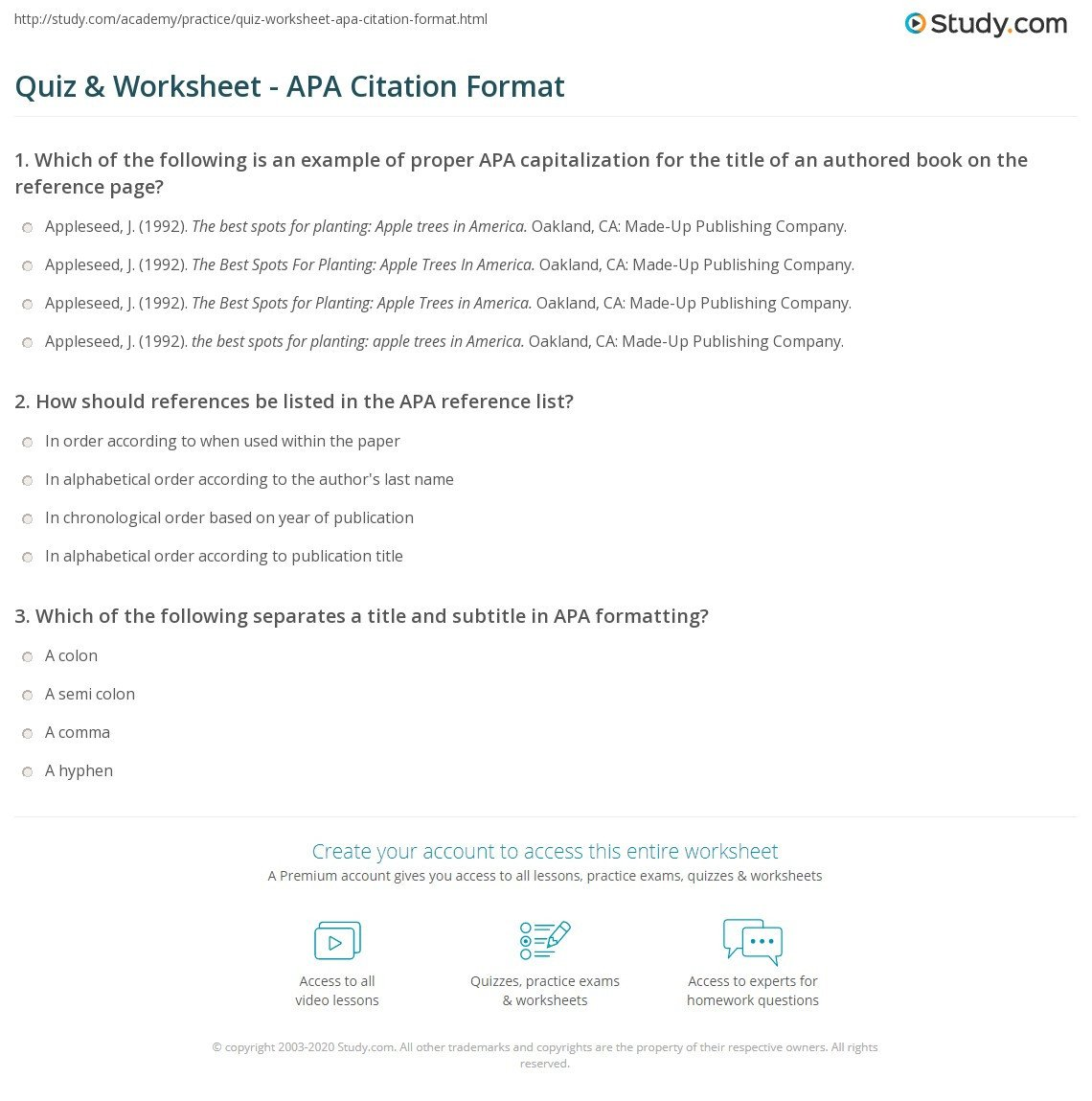 quiz worksheet apa citation format