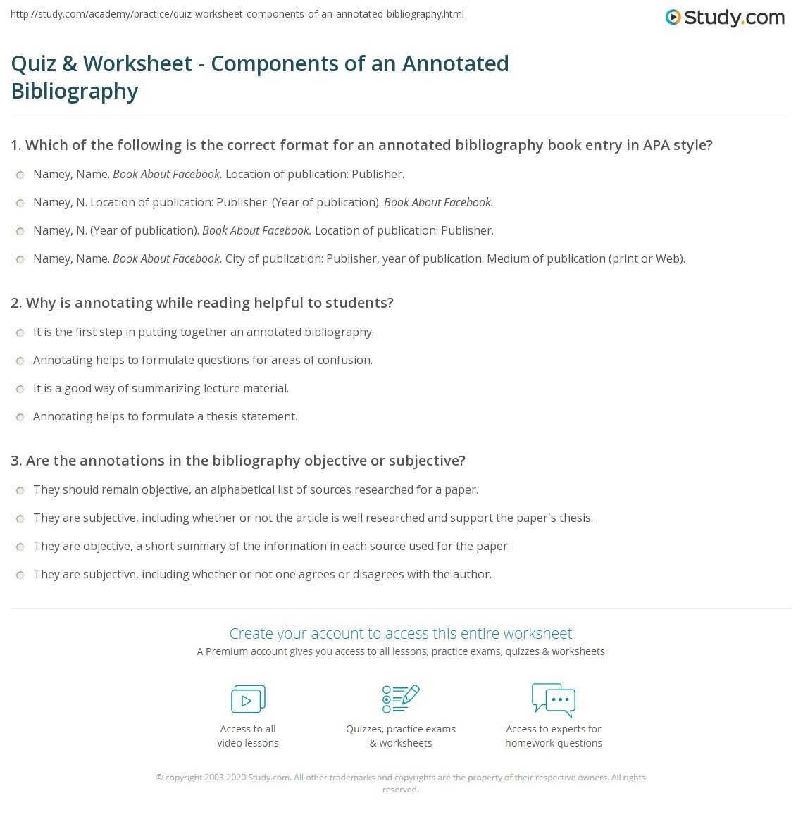 quiz worksheet ponents of an annotated bibliography