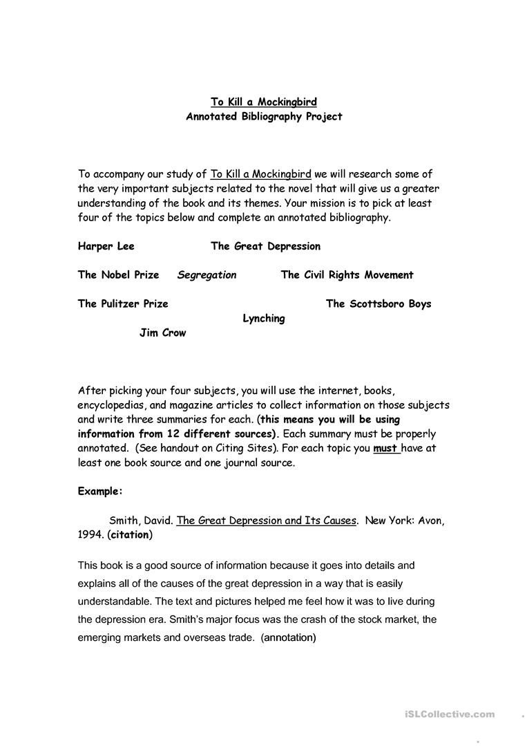 Bibliography Practice Worksheets to Kill A Mockingbird Annotated Bibliography English Esl
