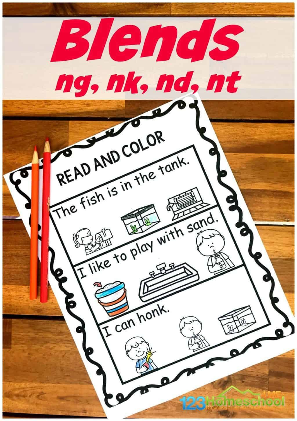 Blends Worksheet for First Grade Free Read & Color Ending Blend Worksheets