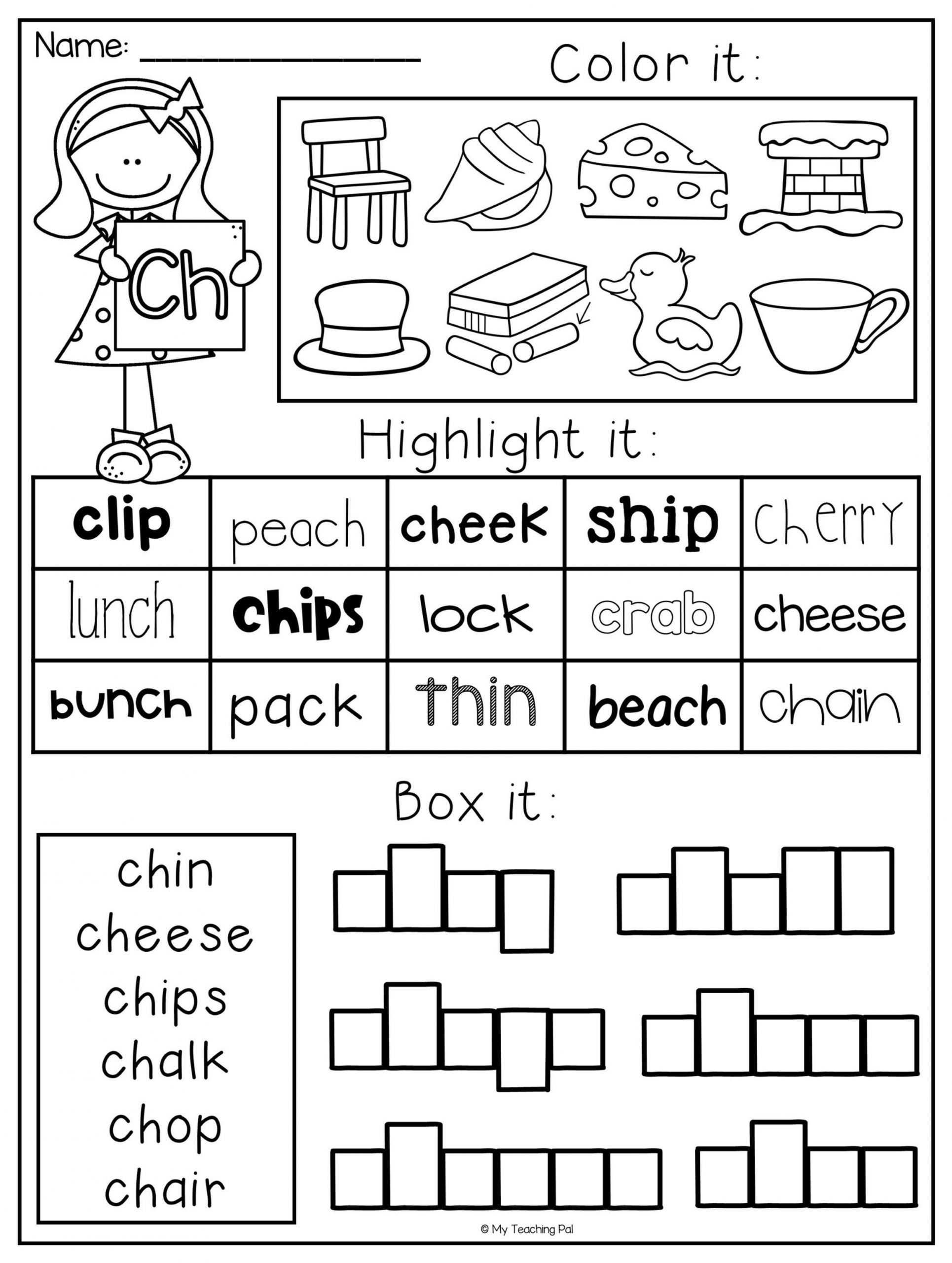 Blends Worksheets Kindergarten Free Digraph Worksheet Packet Ch Sh Th Wh Ph