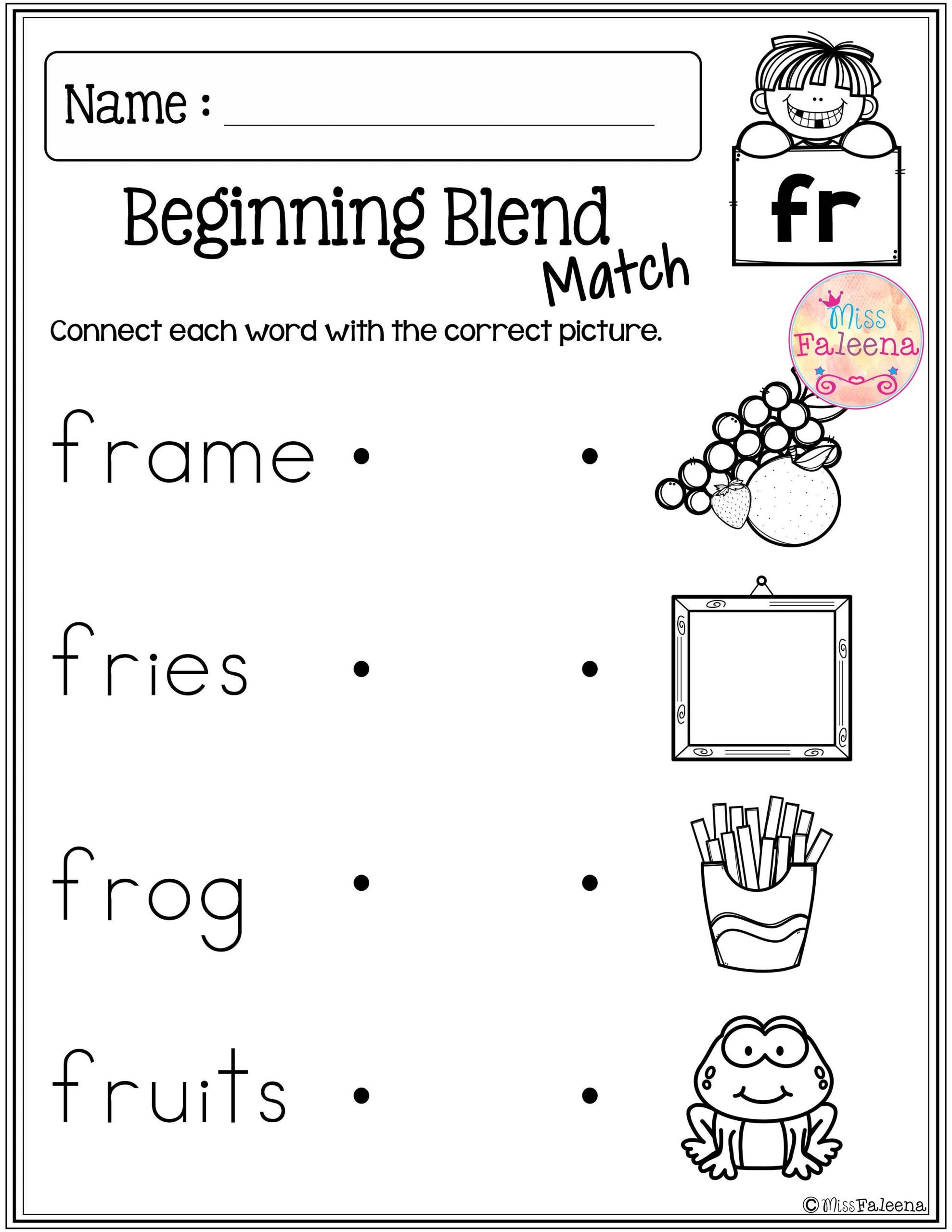 Blends Worksheets Kindergarten Free these are Free Samples From My Beginning and Ending