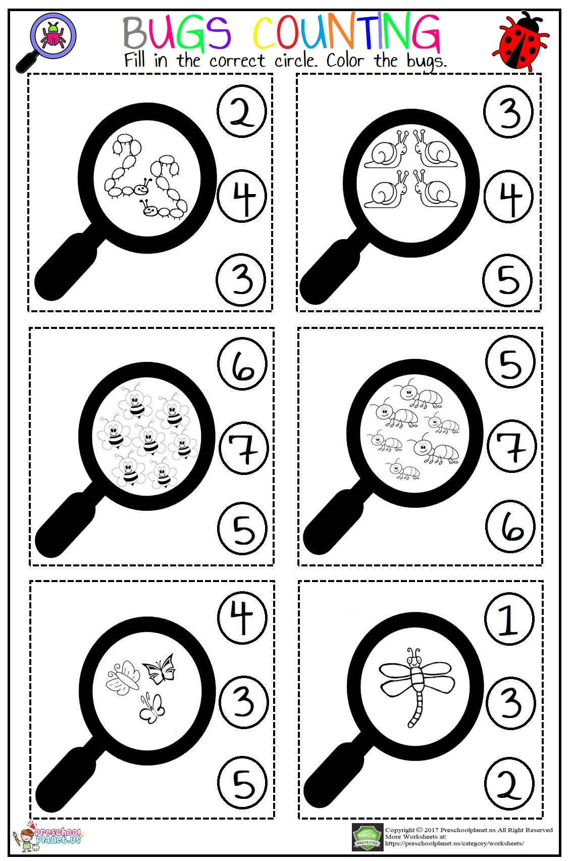 Bug Worksheets for Preschool Bugs Counting Worksheet – Preschoolplanet