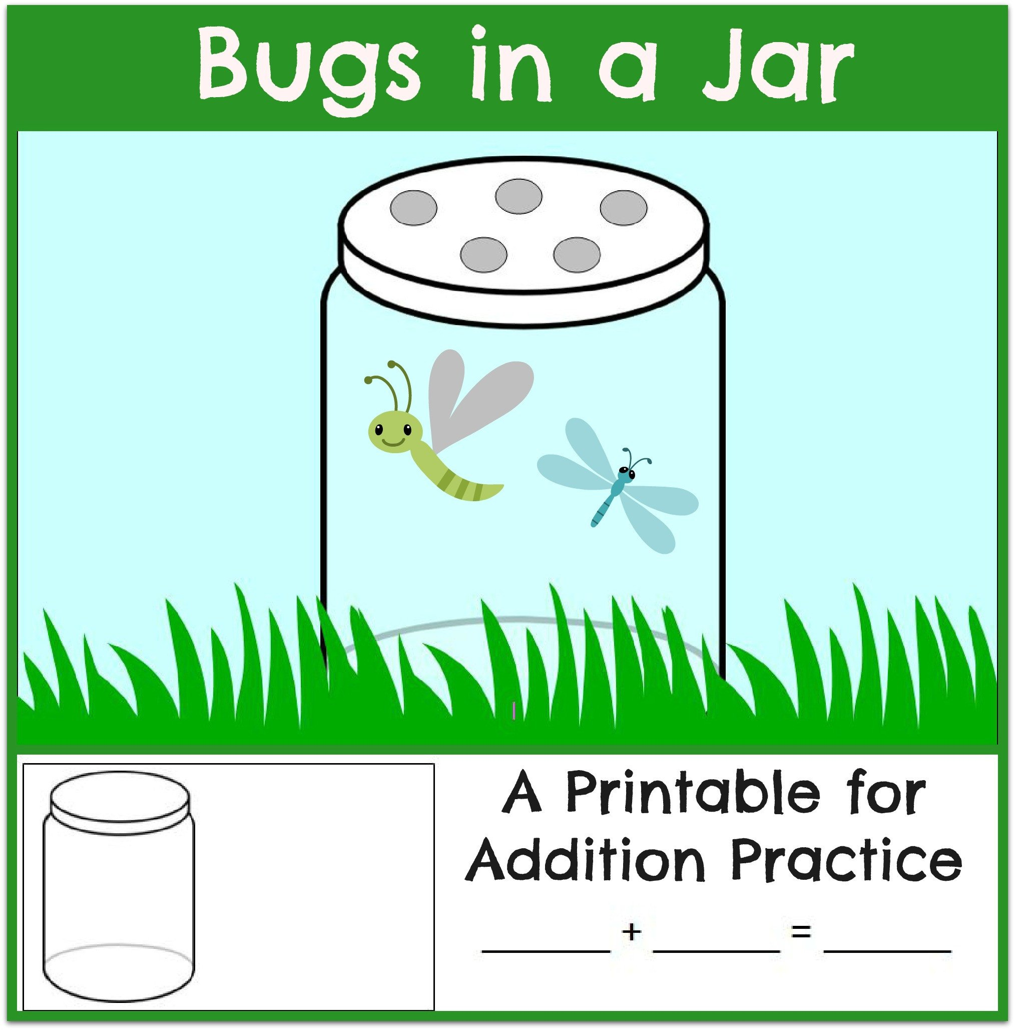 Bug Worksheets for Preschool Bugs In A Jar Addition Worksheet the Measured Mom