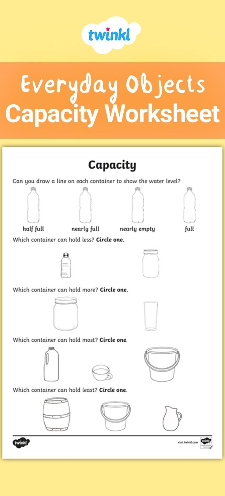 Capacity Worksheets Kindergarten A Useful Worksheet for Practising and assessing Capacity