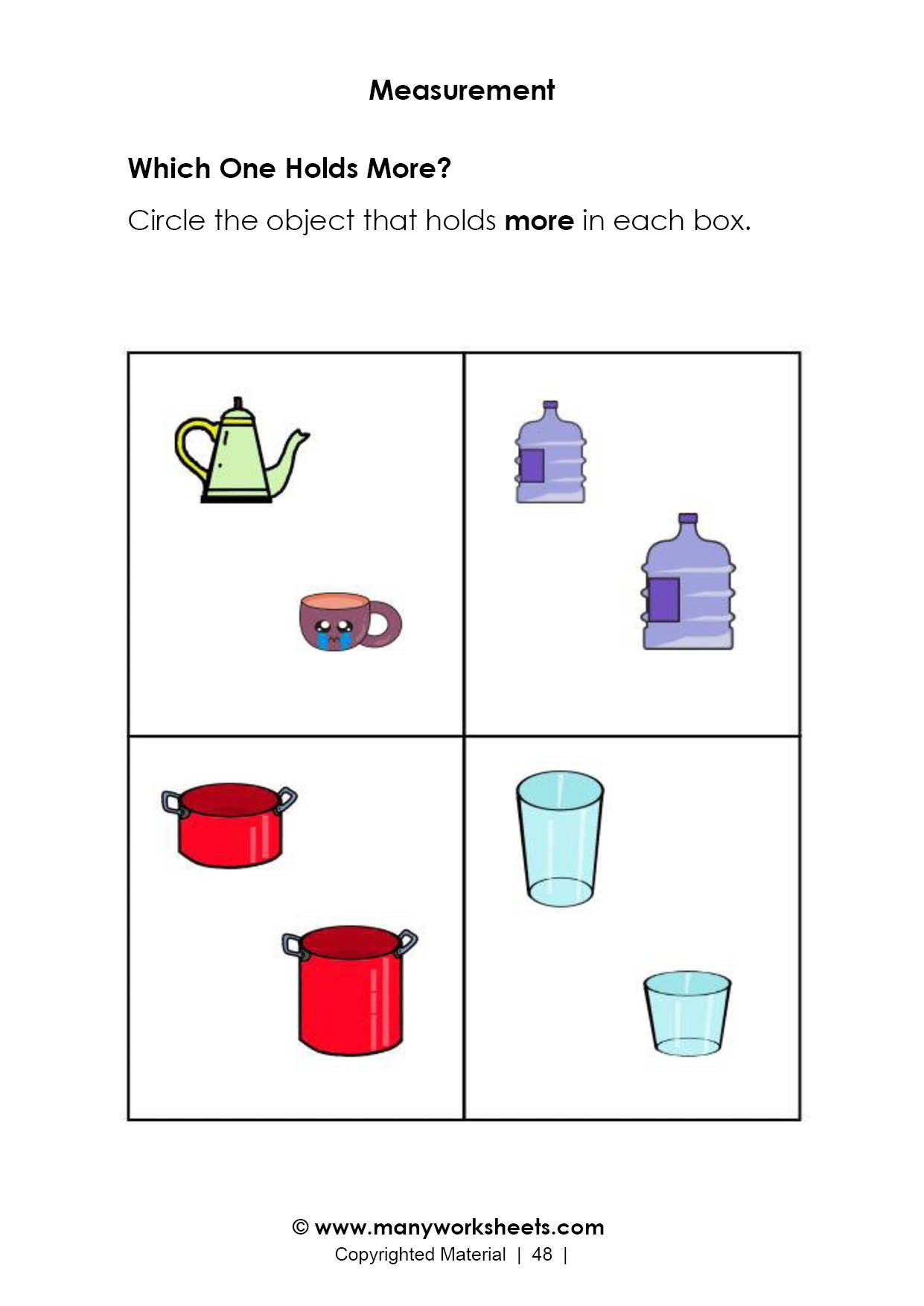 Capacity Worksheets Kindergarten Capacity Measurement Worksheet – Holds More and Less