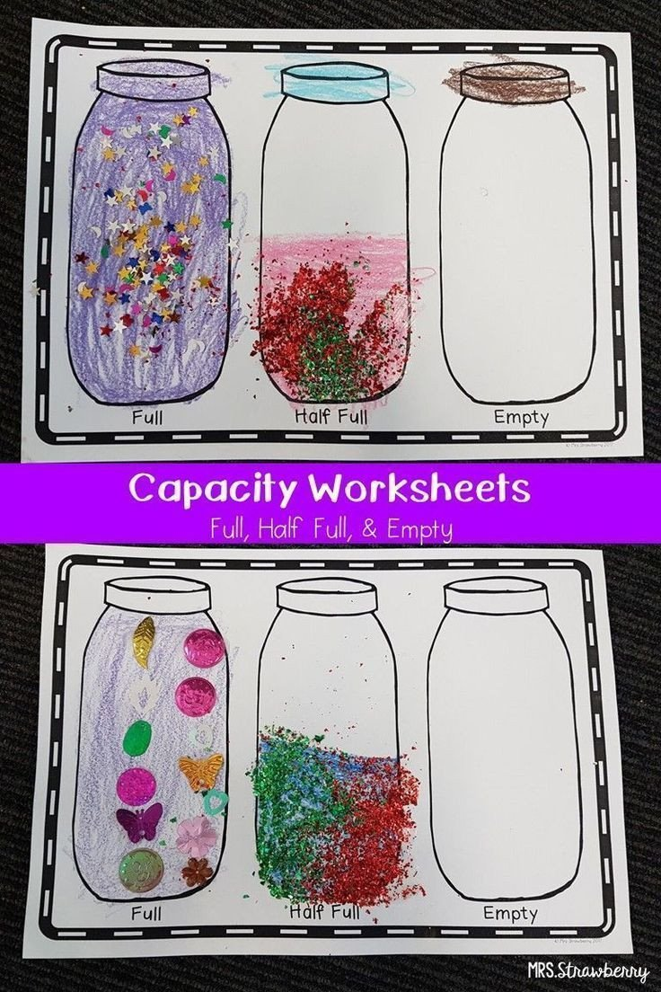 Capacity Worksheets Kindergarten Capacity Worksheet Full Half Full Empty Help Your