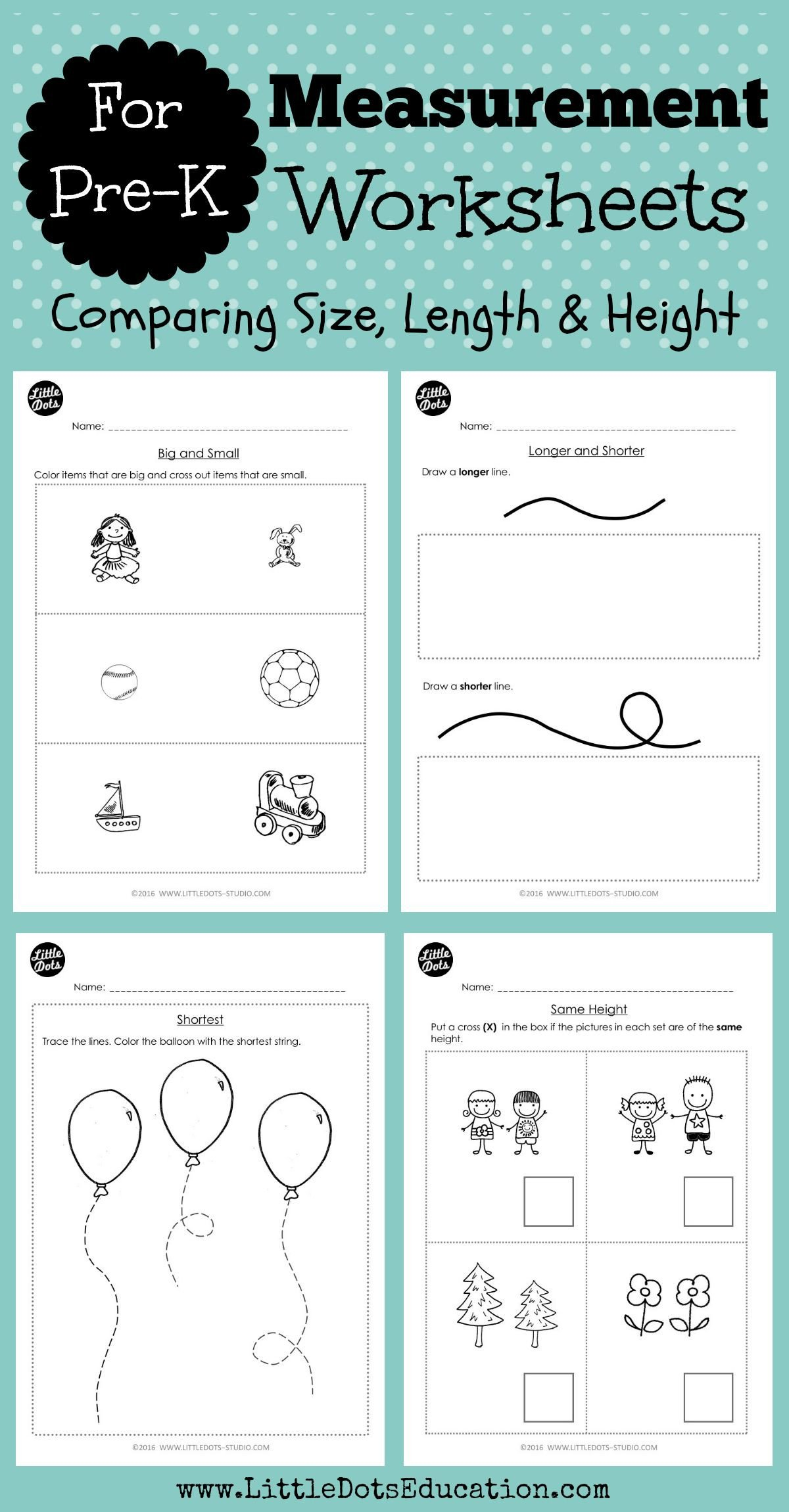 Capacity Worksheets Kindergarten Pre K Measurements Worksheets and Activities