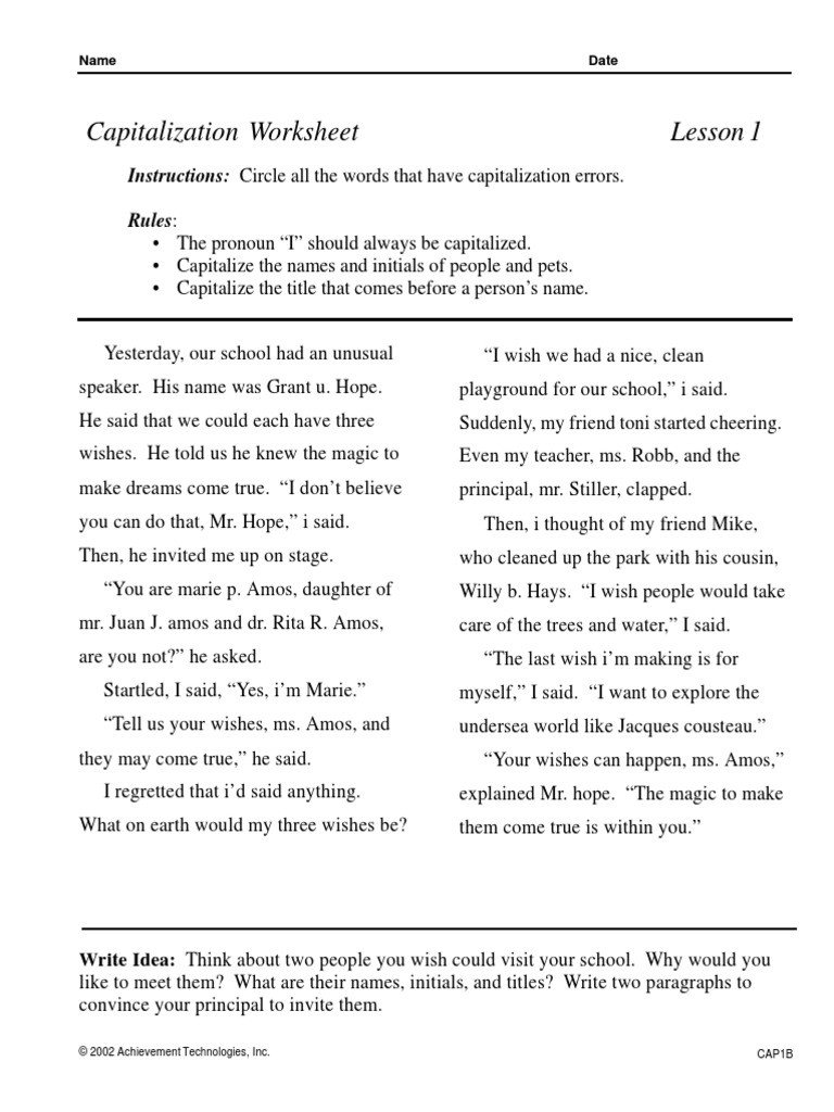 Capitalization and Punctuation Worksheets Pdf Punctuation S Ma