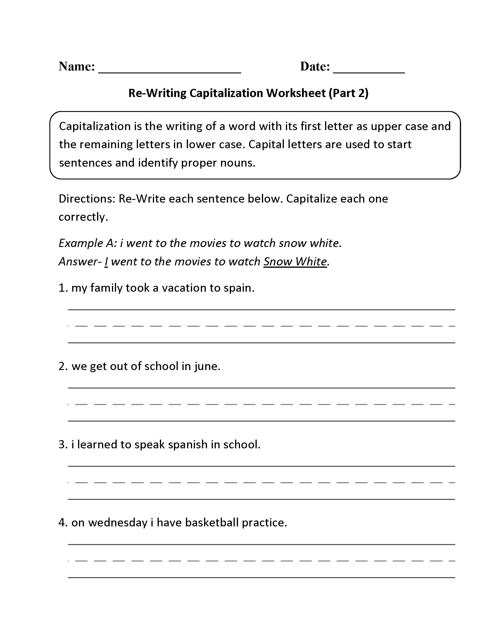 Capitalization Worksheets for 2nd Grade Free Punctuation Worksheets