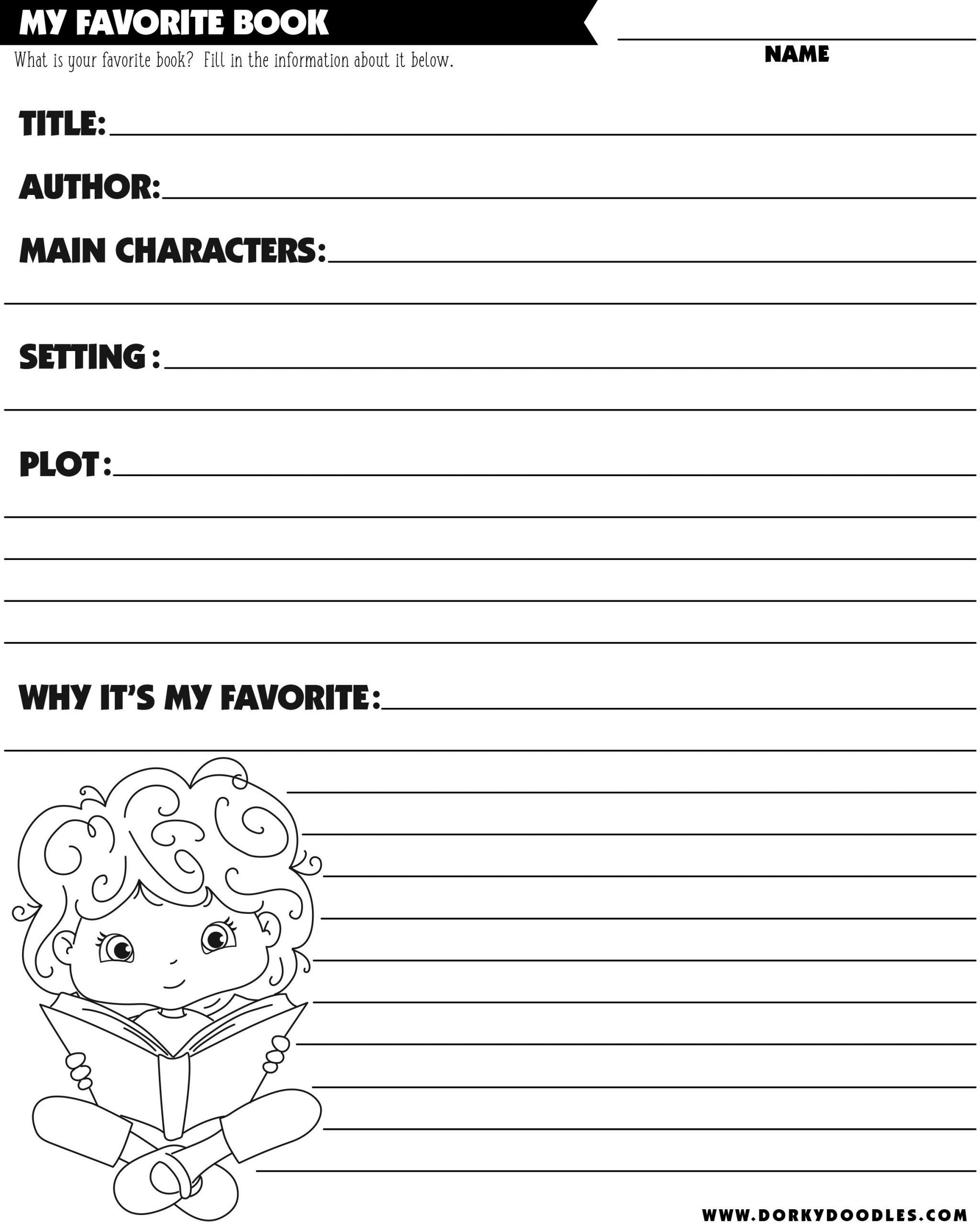 character setting plot worksheet boy and girl book report worksheet printable dorky doodles of character setting plot worksheet scaled